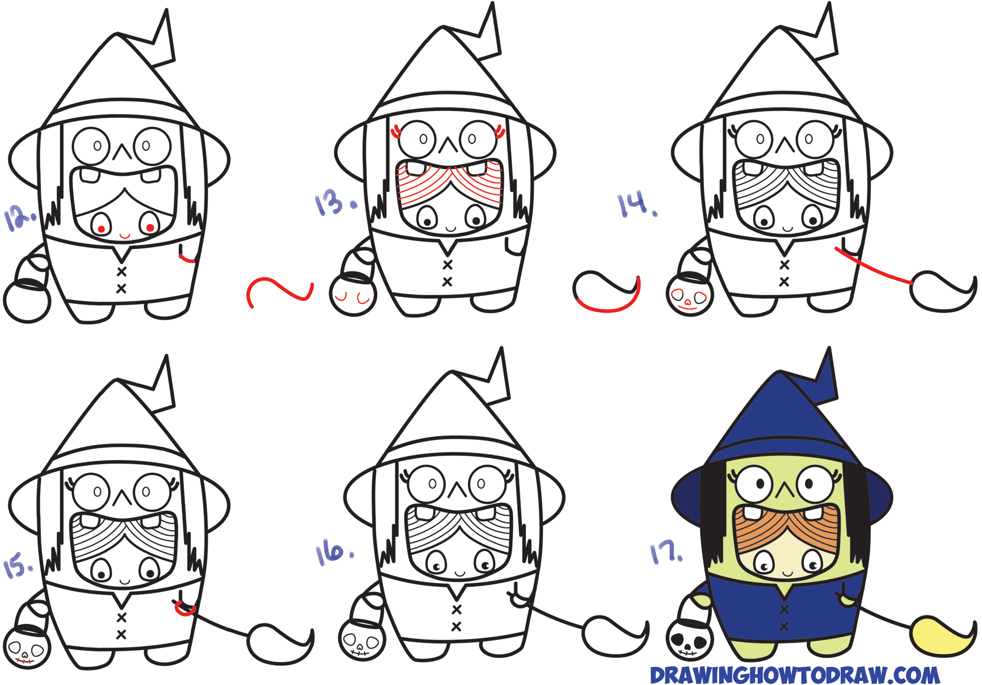 Learn How to Draw a Kid in a Halloween Witch Costume (Cute Kawaii) Simple Steps Drawing Lesson for Children & Beginners