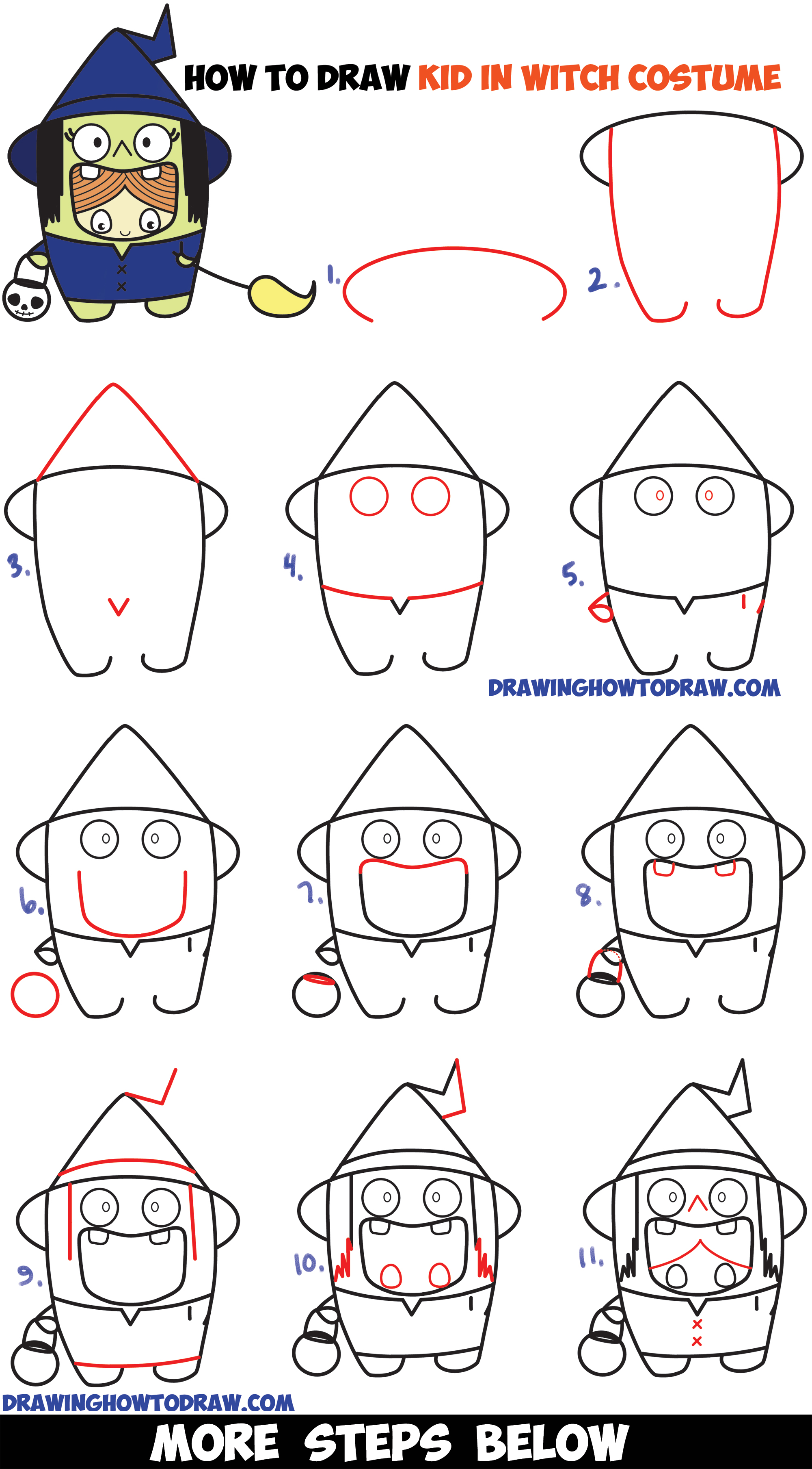 how to draw a kid in a halloween witch costume cute kawaii easy step - Simple Drawing For Kid