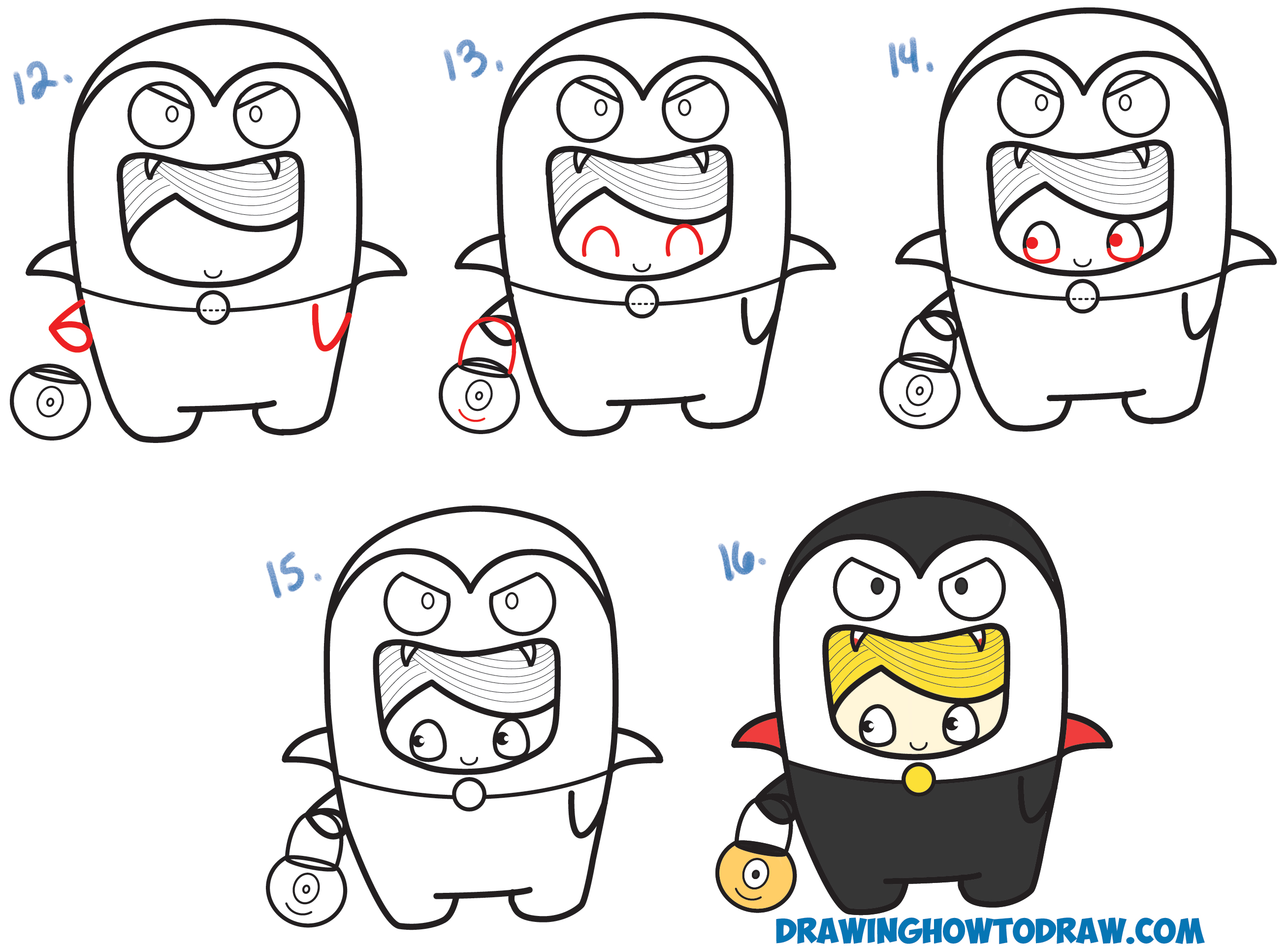 Learn How to Draw a Kid in a Halloween Vampire Costume (Cute Kawaii) Simple Steps Drawing Lesson for Beginners