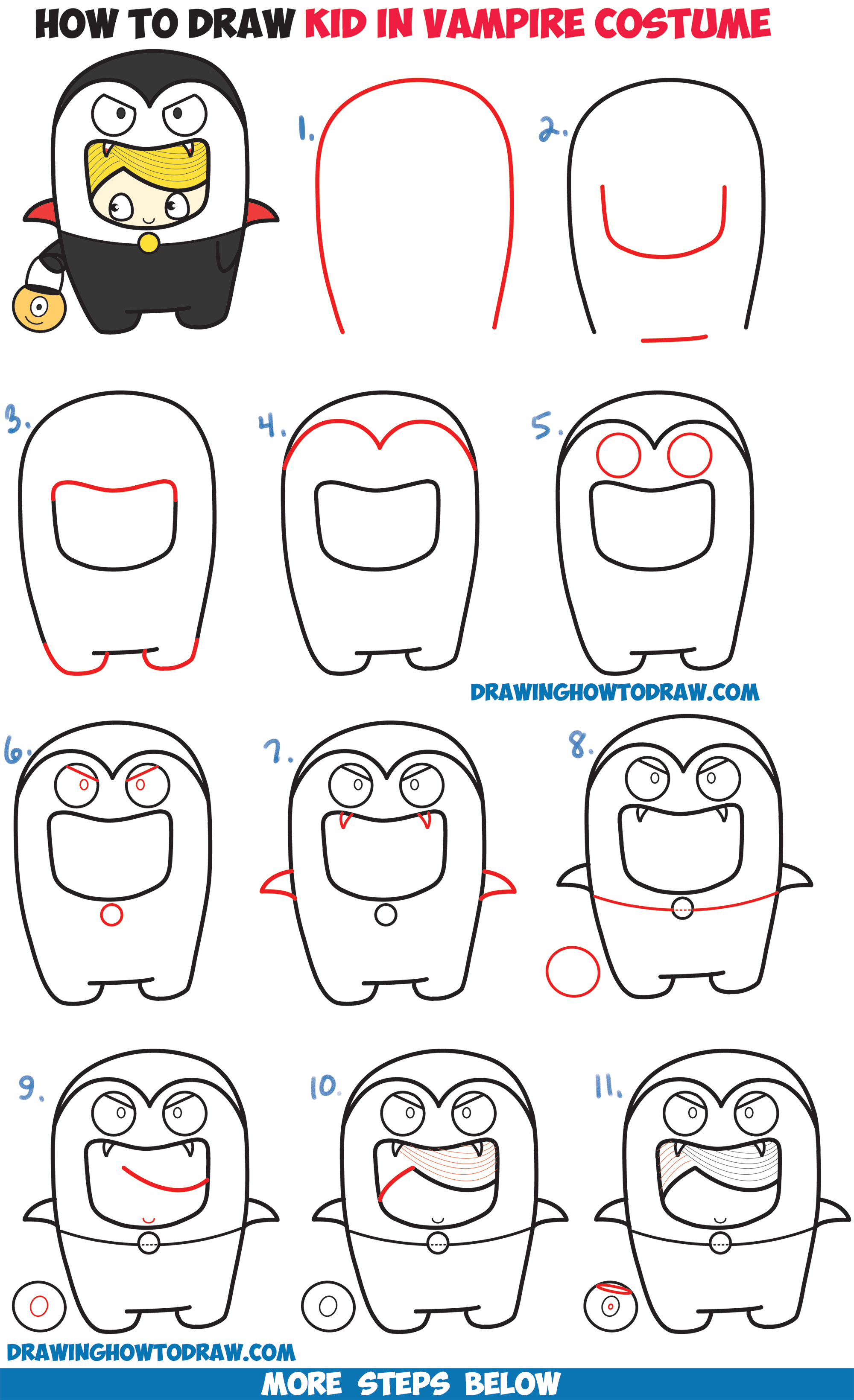 Learn How to Draw a Kid in a Halloween Vampire Costume (Cute Kawaii) Easy Step by Step Drawing Tutorial for Kids