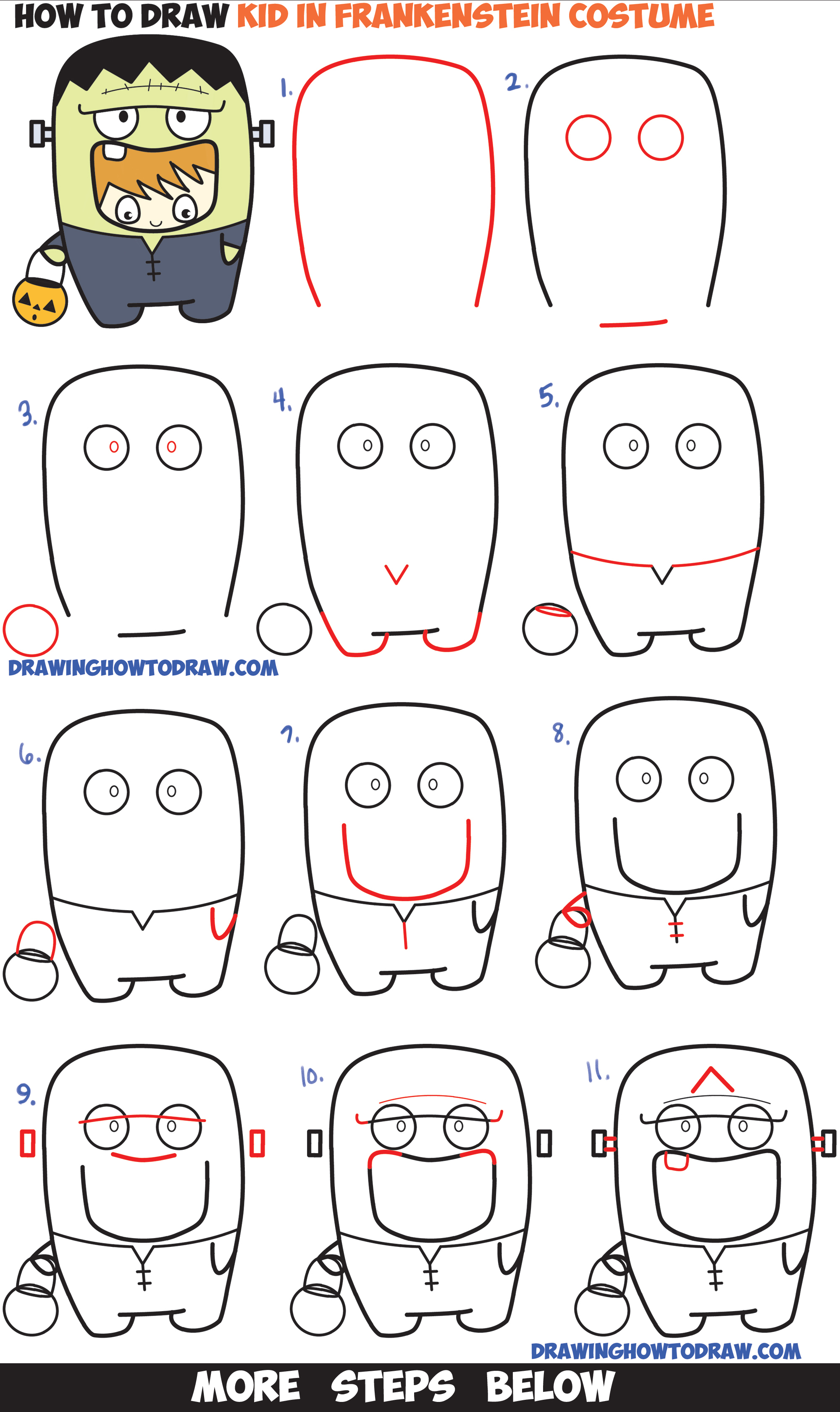 How to Draw a Kid in a Halloween Frankenstein Costume (Cute Kawaii) Easy Step by Step Drawing Tutorial for Kids
