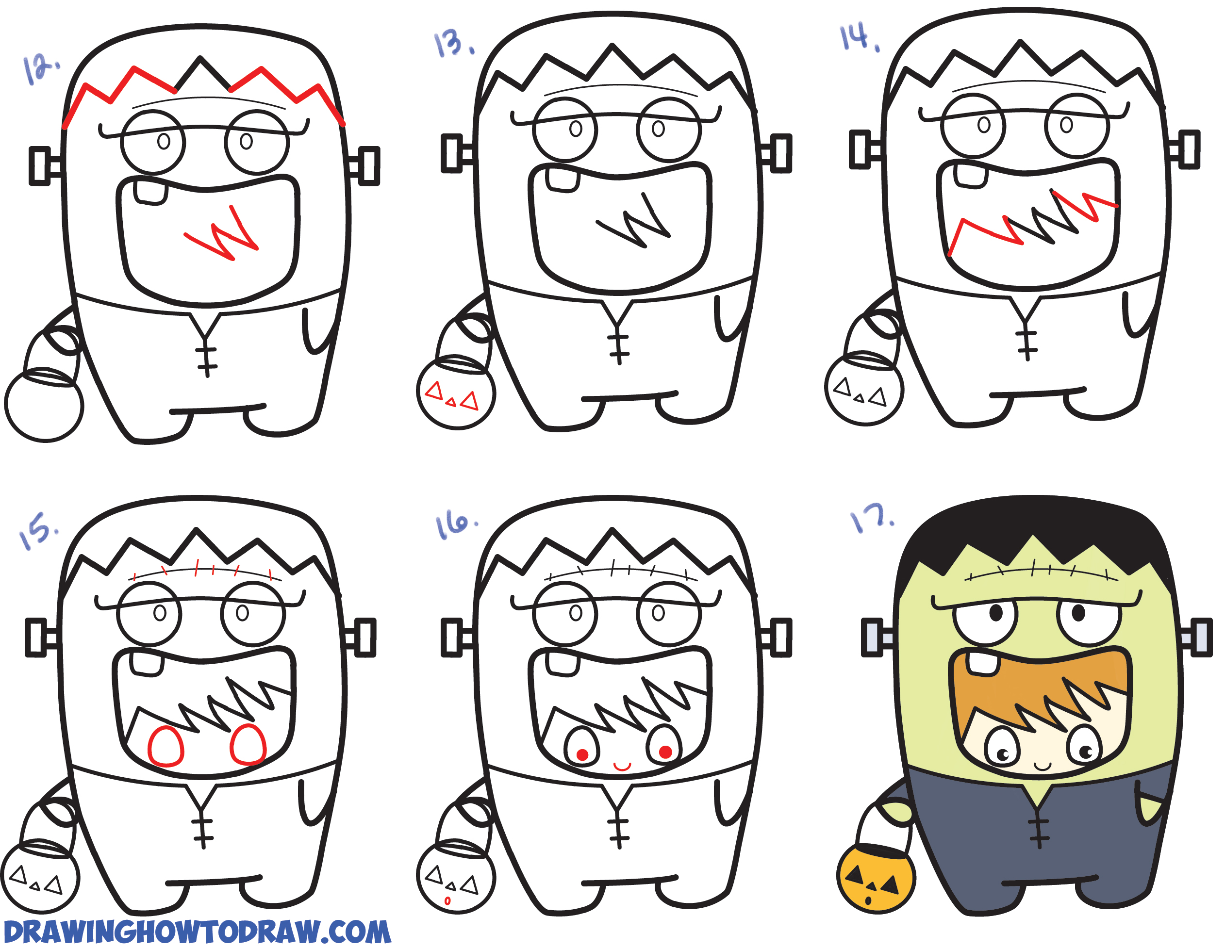 Learn How to Draw a Kid in a Halloween Frankenstein Costume (Cute Kawaii) Simple Steps Drawing Lesson for Children & Beginners