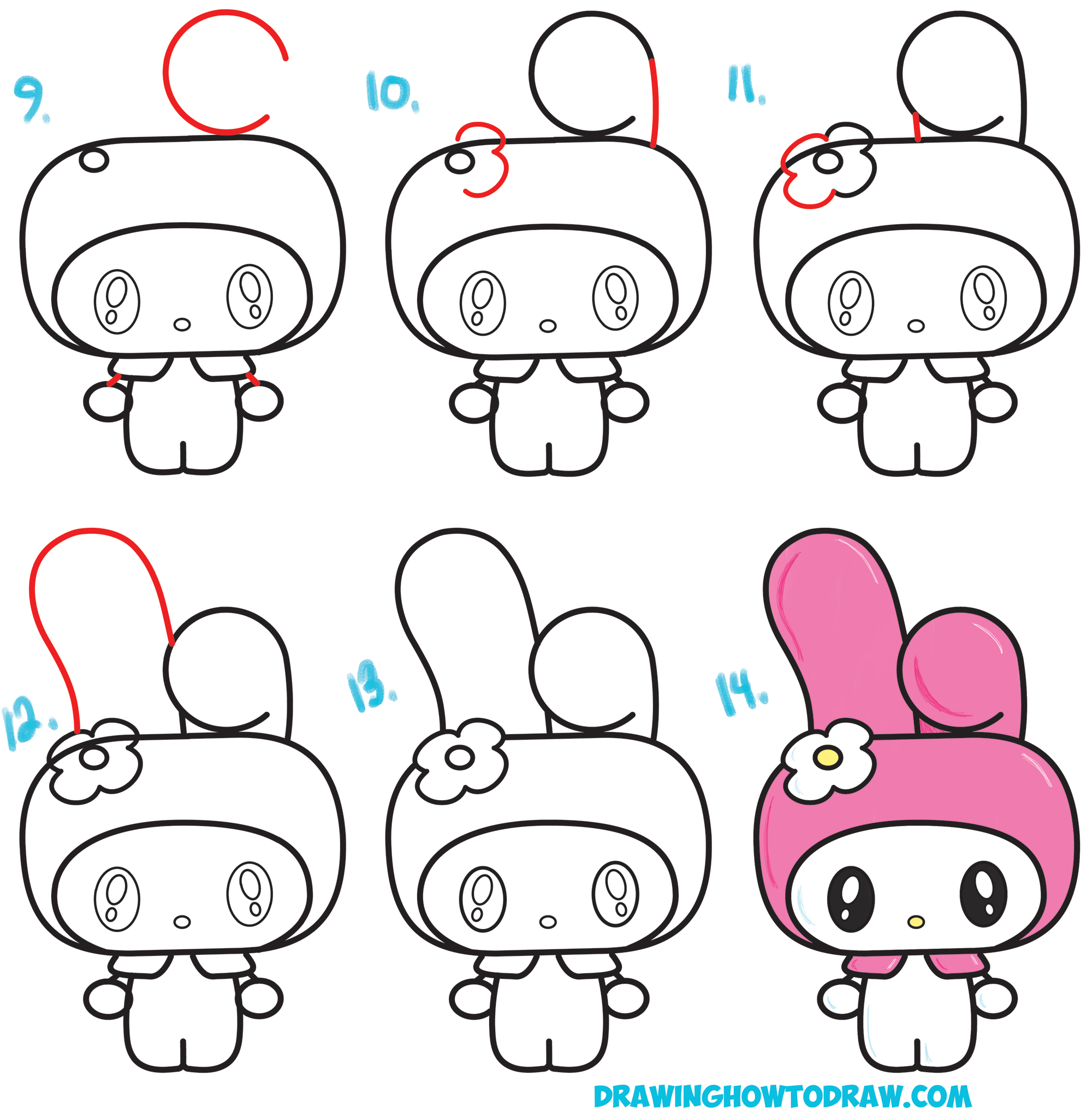 Learn How to Draw Kawaii / Chibi My Melody from Hello Kitty : A Cute Bunny with a Hood on - Simple Step by Step Drawing Tutorial for Beginners