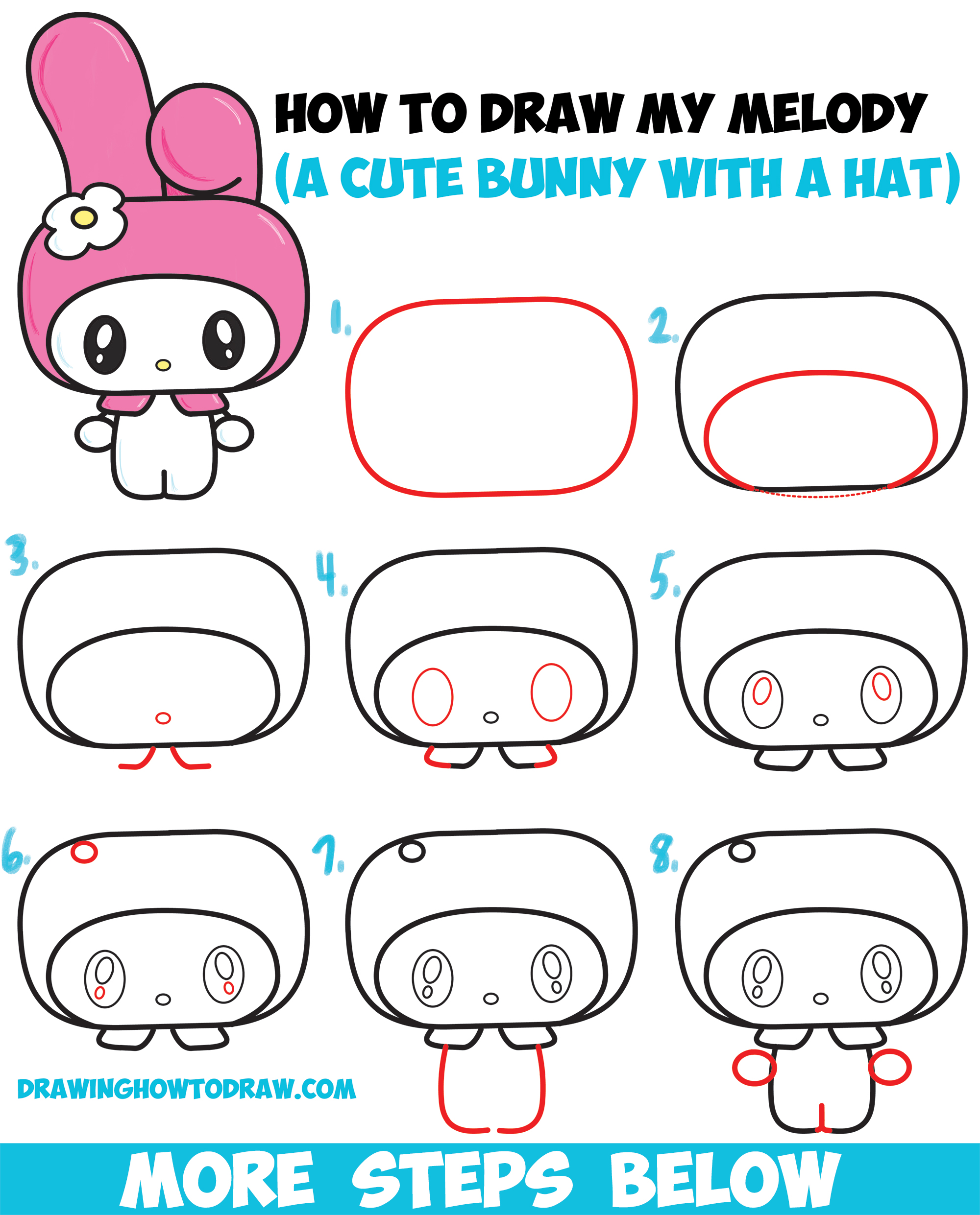 Learn How to Draw Kawaii / Chibi My Melody from Hello Kitty : A Cute Bunny with a Hood on - Easy Steps Drawing Lesson for Kids