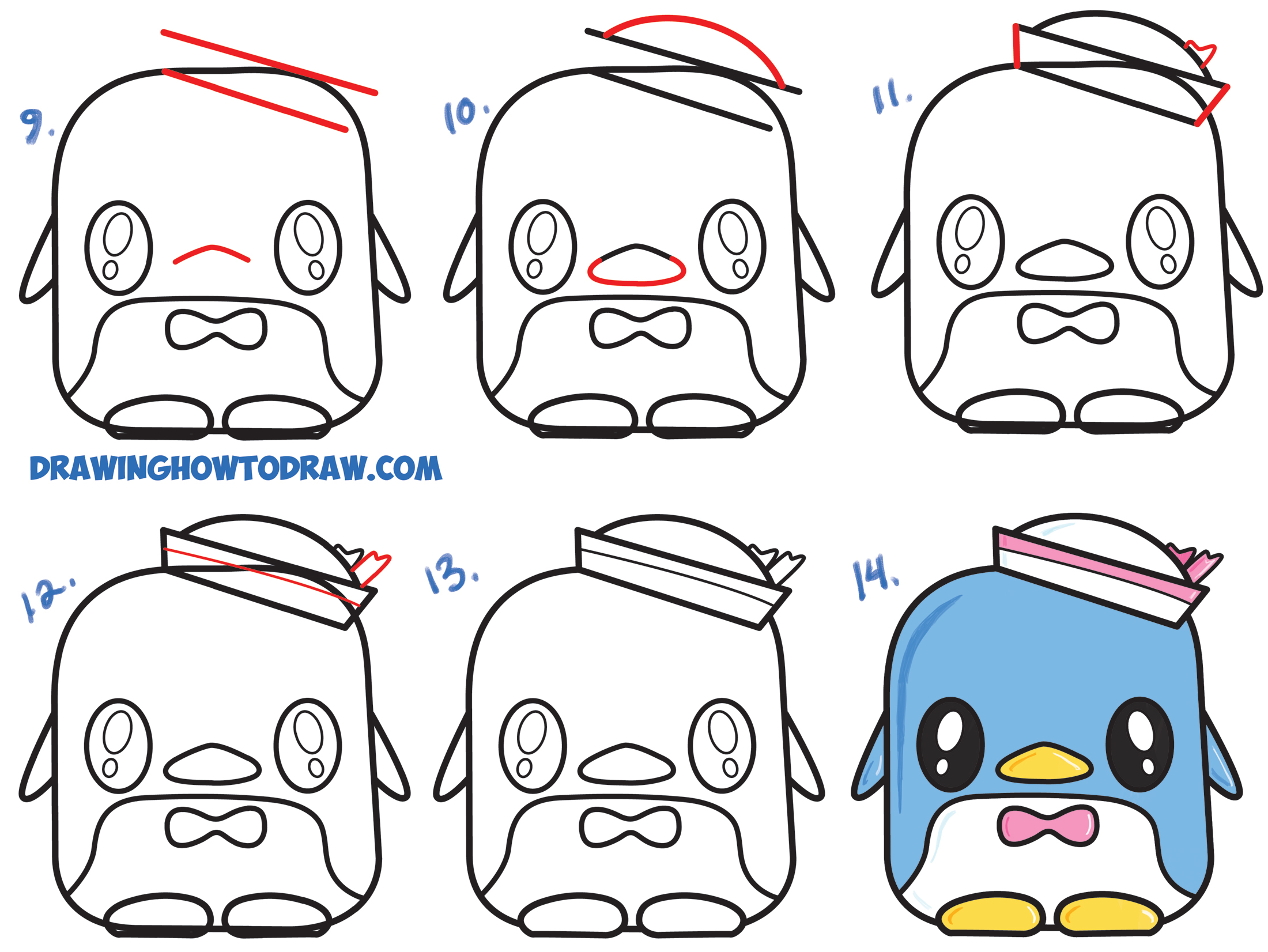 Learn How to Draw Tuxedo Sam (Cute Kawaii Chibi Penguin) From Hello Kitty Simple Steps Drawing Lesson for Kids & Beginners