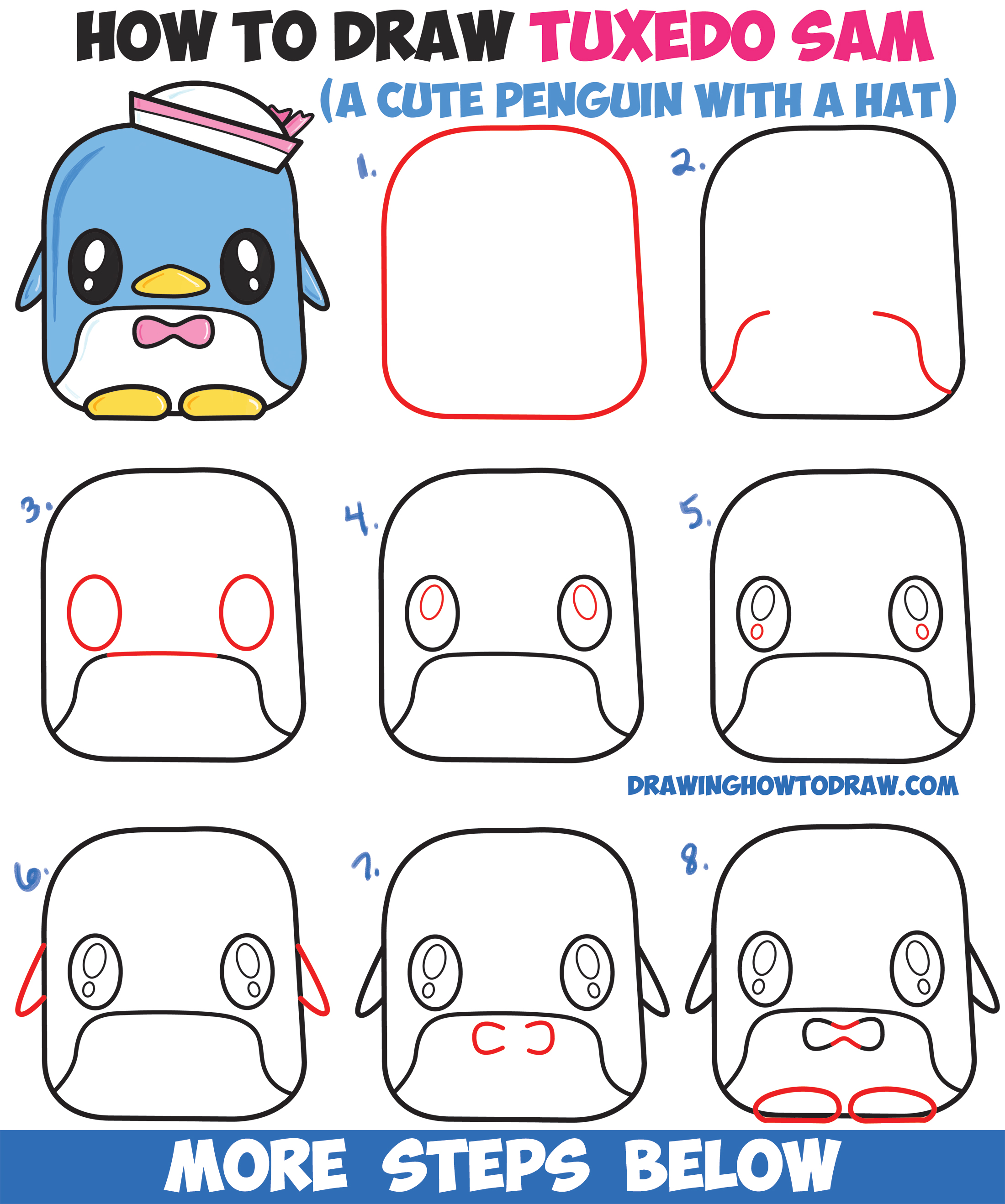 How to Draw Tuxedo Sam (Cute Kawaii Penguin) From Hello Kitty Easy Step by Step Drawing Tutorial