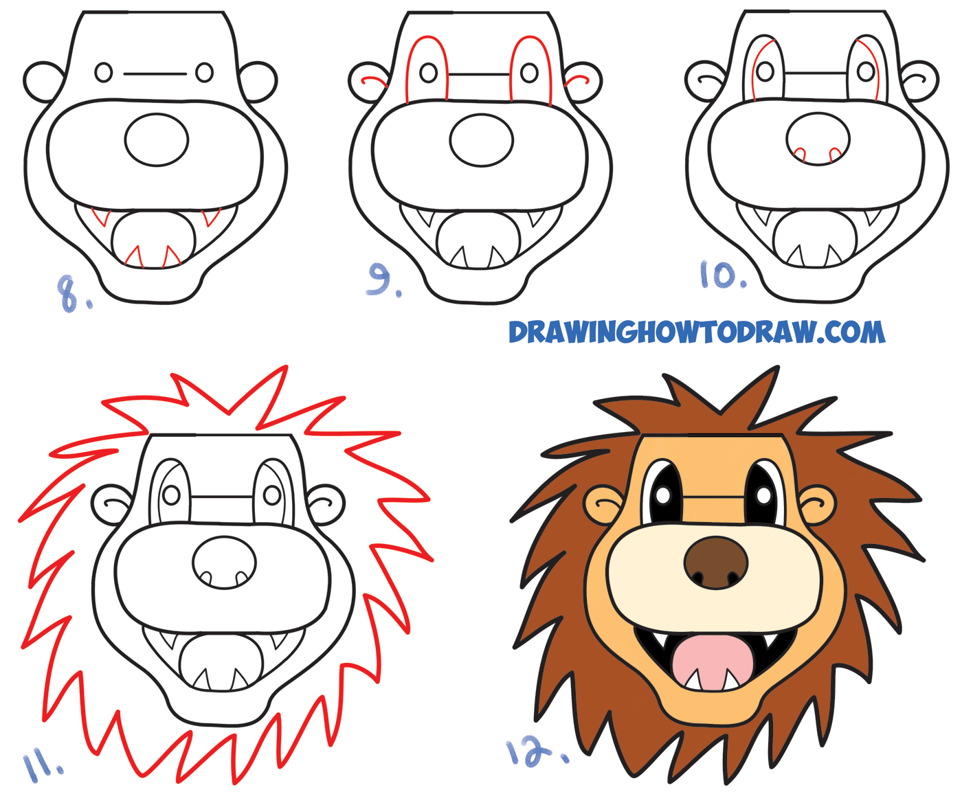 "Learn How to Draw a Cartoon Lion from the Lowercase Word ""lion"" : Easy Steps Drawing Lesson for Kids & Beginners"