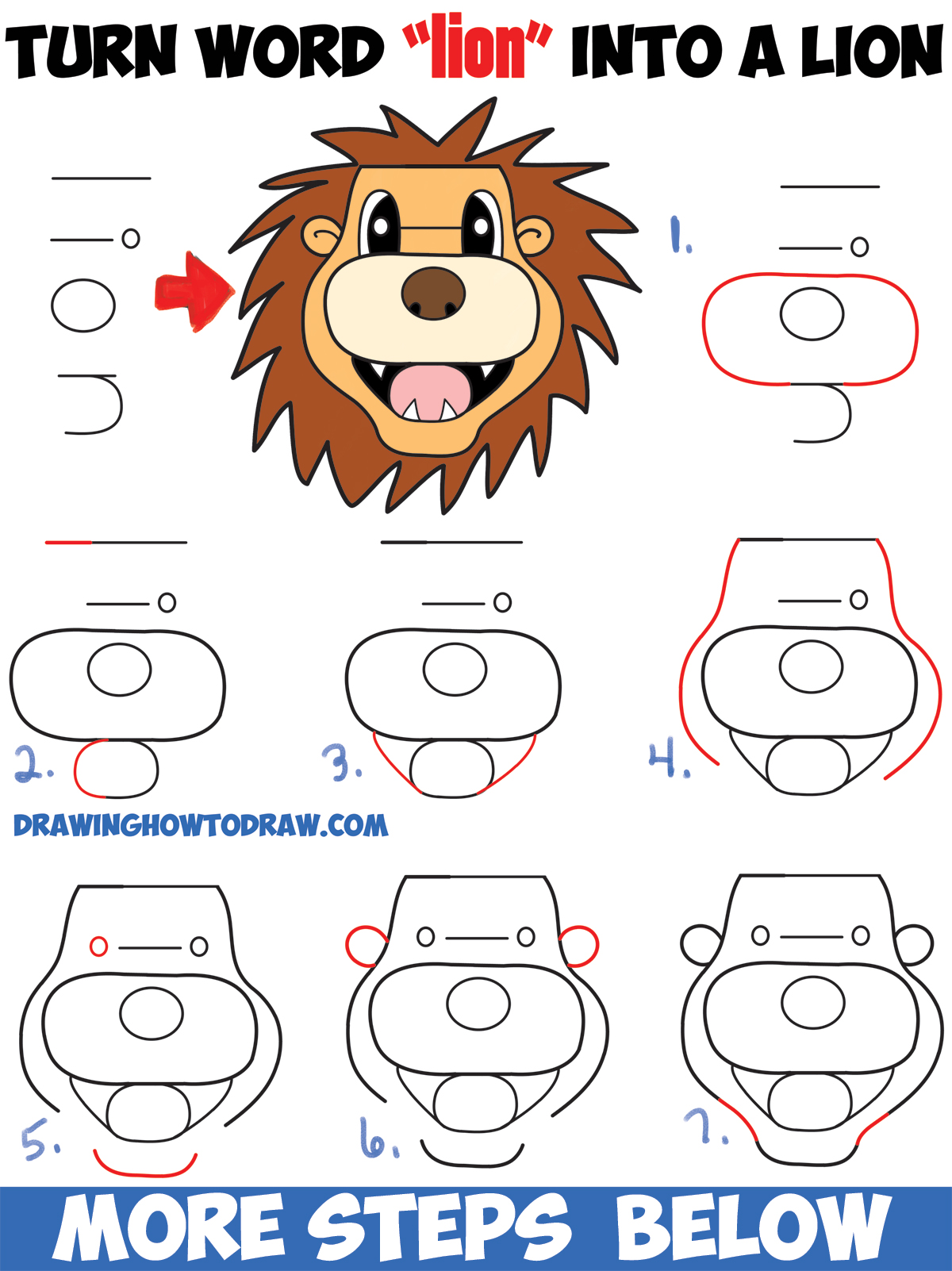 "How to Turn the Word ""lion"" into a Cartoon Lion : Easy Step by Step Drawing Tutorial for Kids"