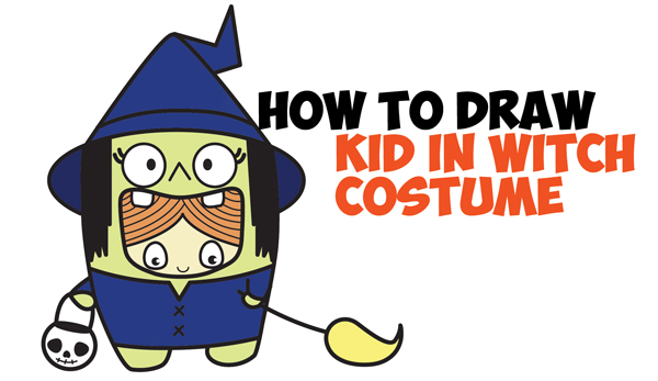 How to Draw a Kid in a Halloween Witch Costume (Cute Kawaii) Easy Step by Step Drawing Tutorial for Kids
