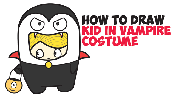 LearnHow to Draw a Kid in a Halloween Vampire Costume (Cute Kawaii) Easy Step by Step Drawing Tutorial for Kids