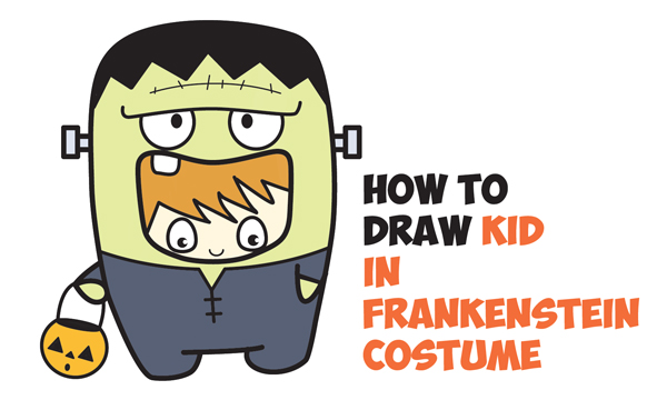 how to draw a kid in a halloween frankenstein costume cute kawaii easy step by step drawing tutorial for kids