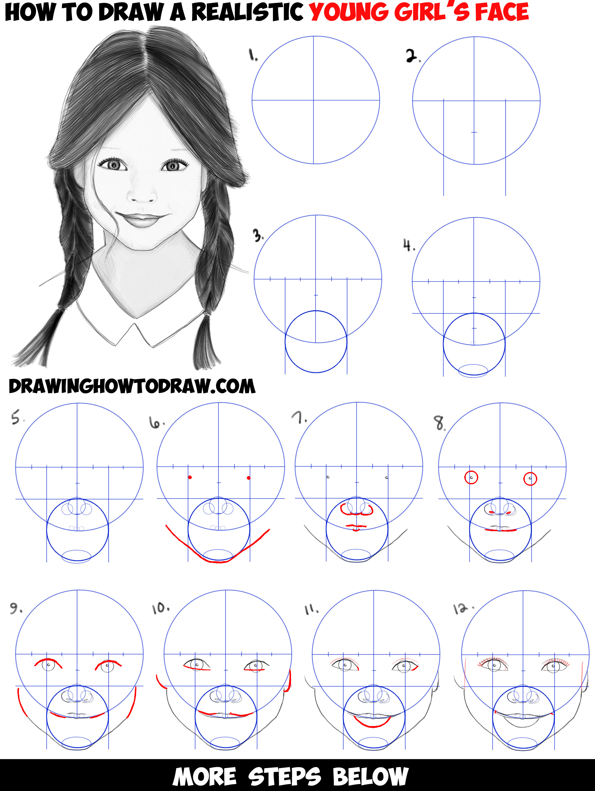 Learn how to draw a realistic cute little girls face head step by step drawing