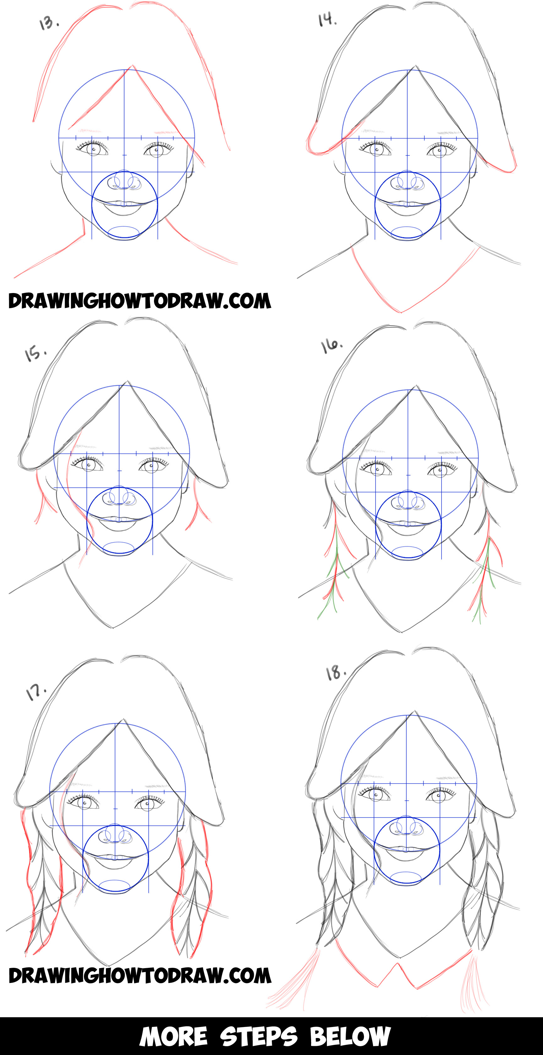 How to draw a realistic cute little girl 39 s face head step for Steps to draw a girl