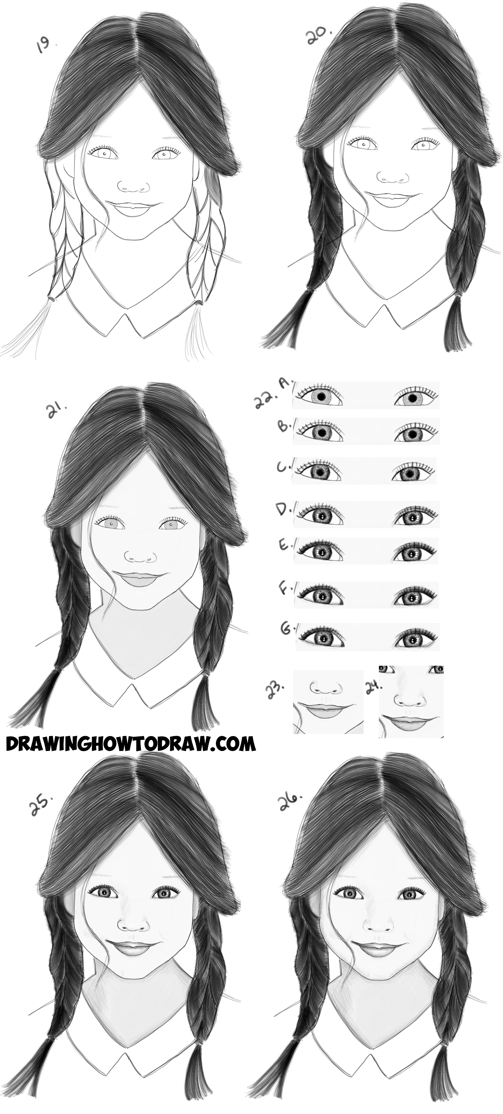 Learn how to draw a realistic cute little girls face head easy steps drawing lesson