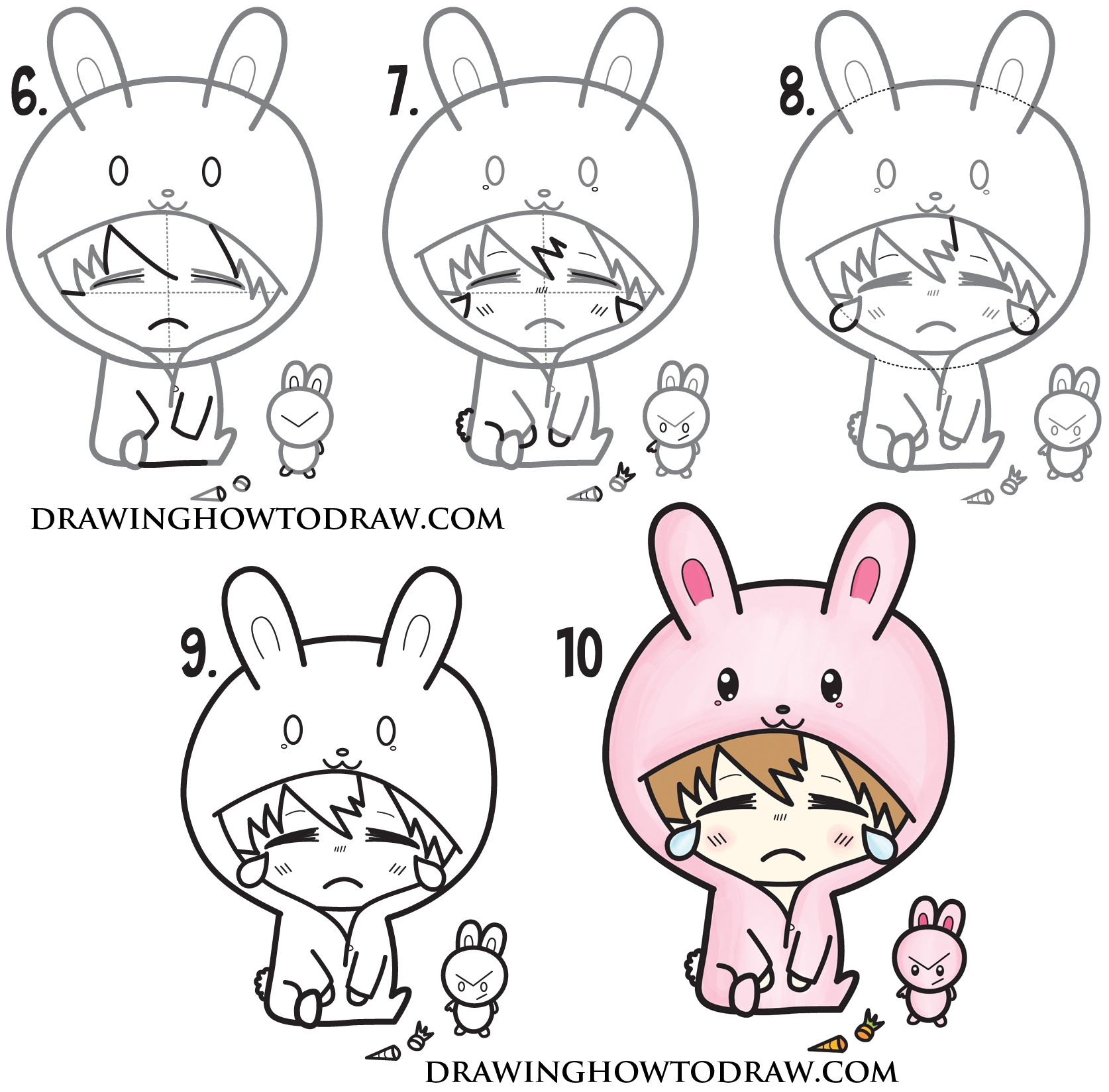 How to Draw a Cute Chibi Character in Bunny Rabbit Onesie Pajamas Costume Easy Steps Drawing for Kids