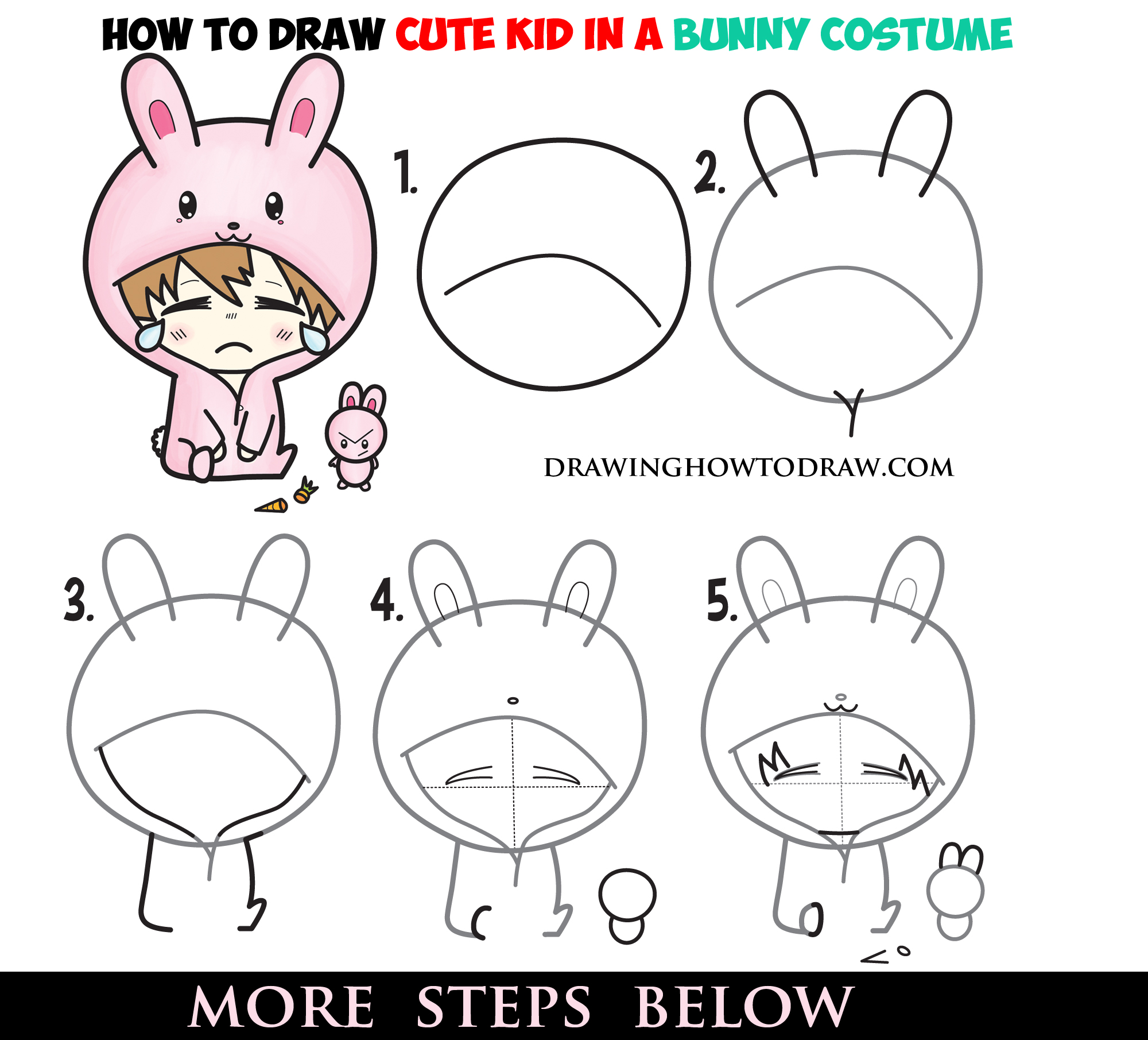 learn how to draw a cute chibi character in bunny rabbit onesie pajamas costume simple step by step drawing tutorial for beginners - Simple Drawing For Kid