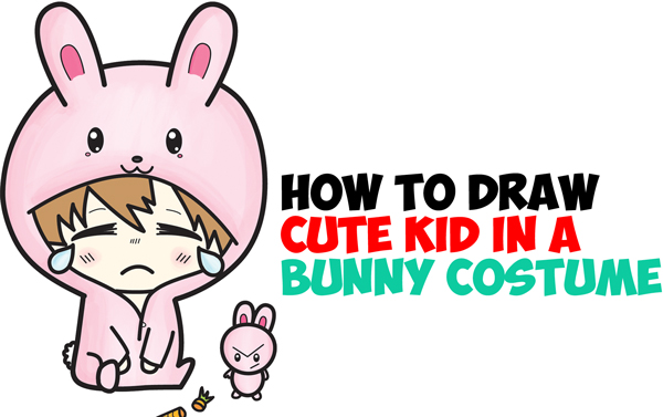 Learn How to Draw a Cute Chibi Character in Bunny Rabbit Onesie Pajamas Costume Simple Step by Step Drawing Tutorial for Beginners