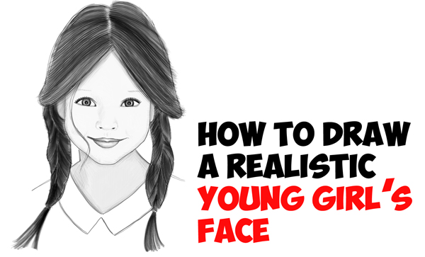 Learn How to Draw a Realistic Cute Little Girl's Face/Head Step by Step Drawing Tutorial for Beginners