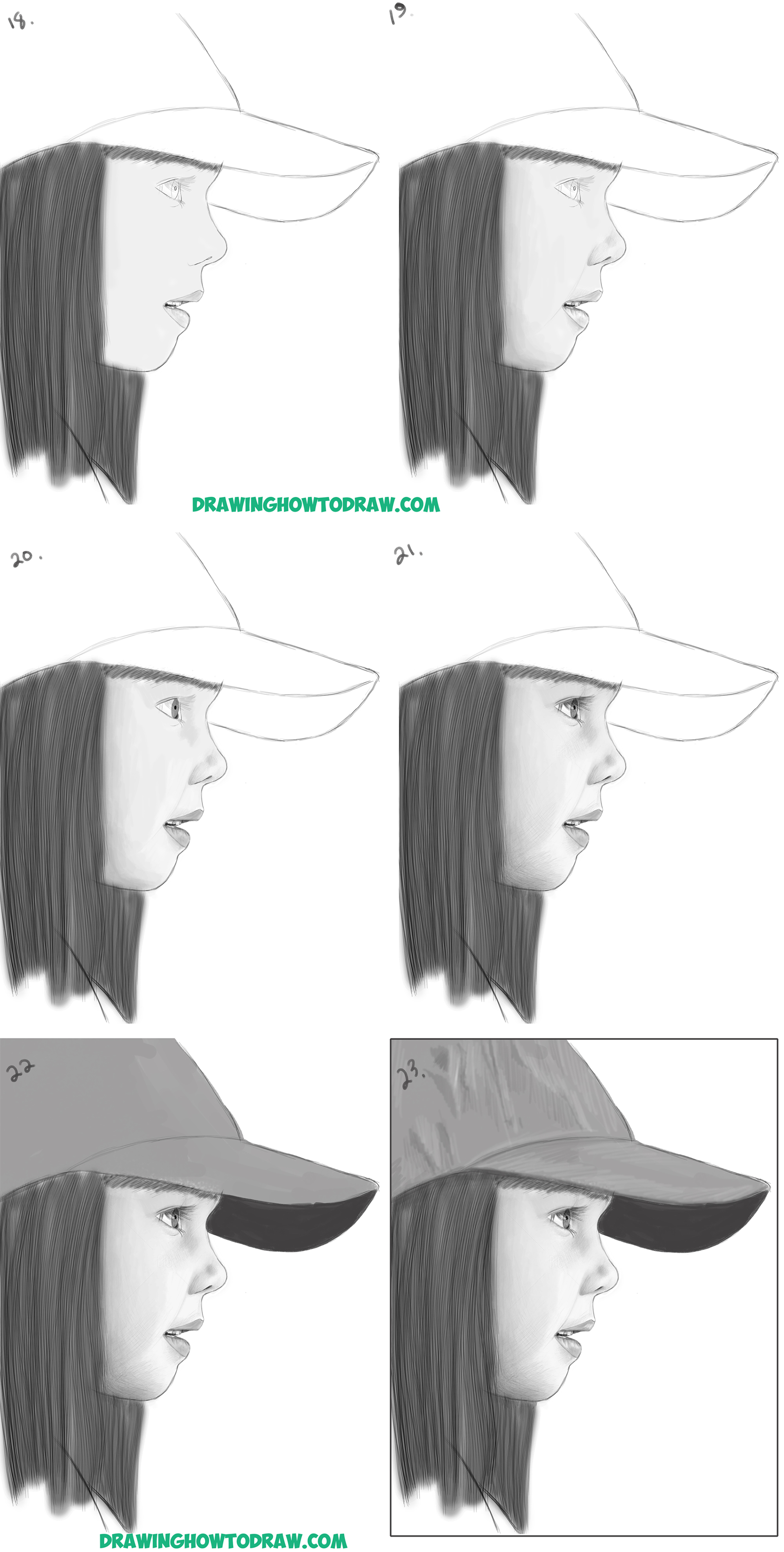 Learn How to Draw a Realistic Cute Little Girl's Face/Head from the Side Profile View Easy Step by Step Drawing Lesson for Beginners