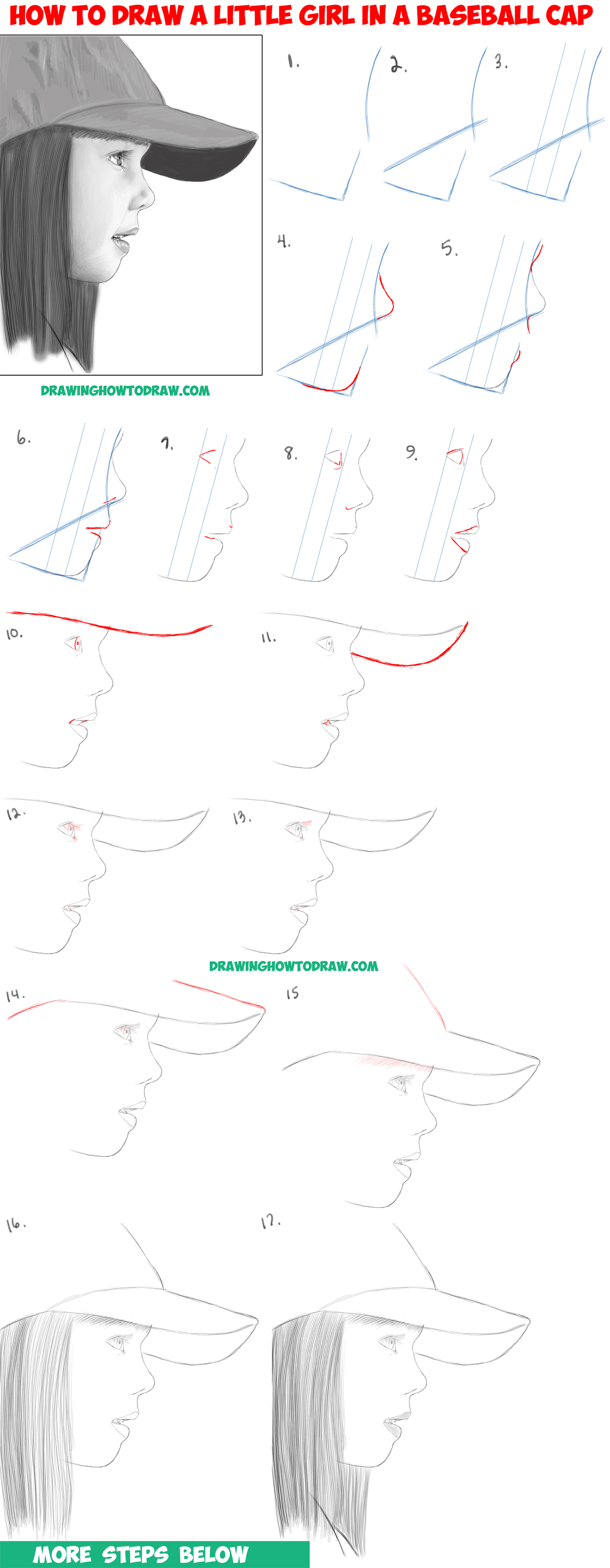 How to draw a realistic cute little girl 39 s face head from for How to draw a little girl easy