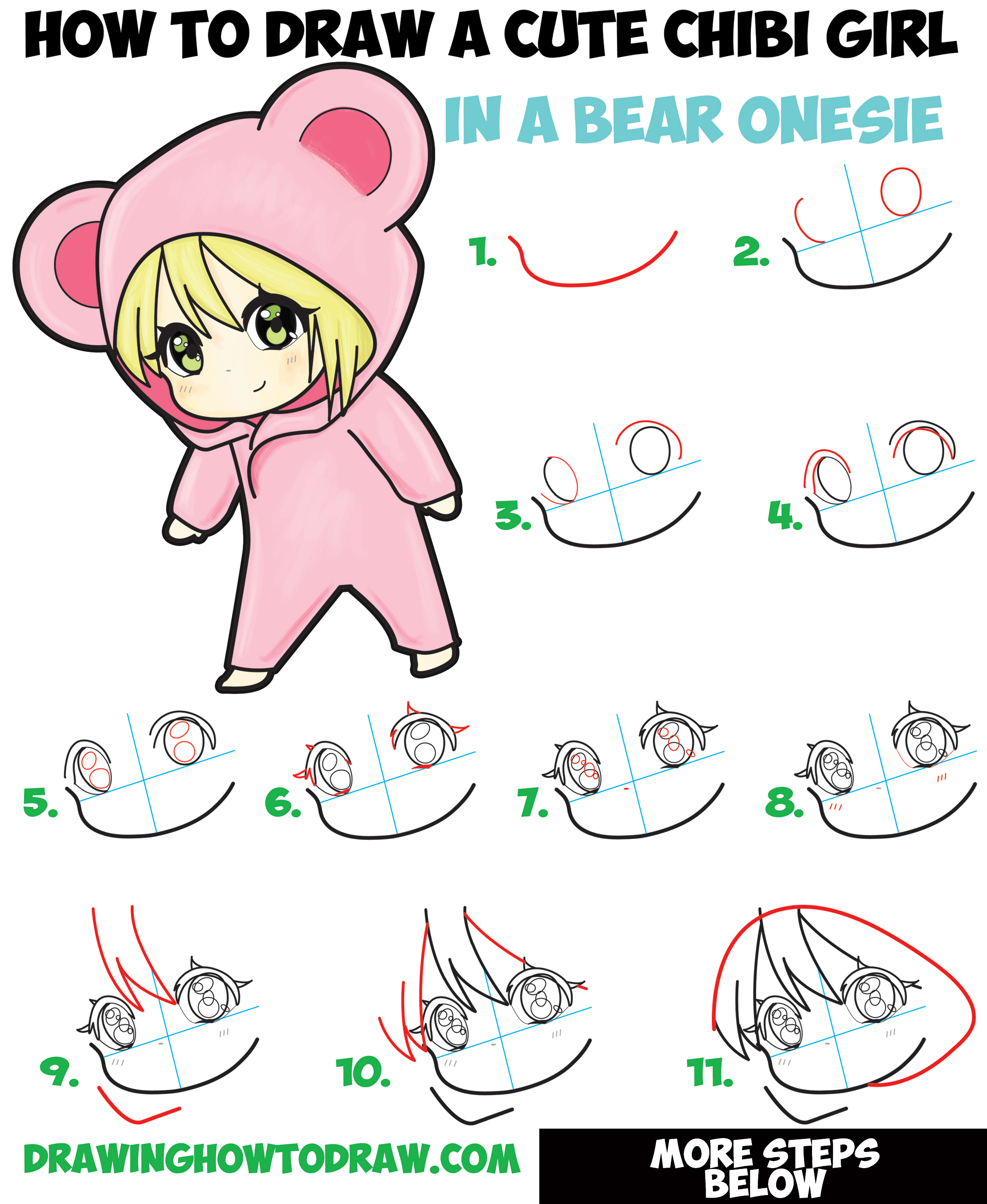 How to Draw a Cute Chibi Girl Dressed in a Hooded Bear Onesie Pajamas Costume with Simple Steps Drawing Tutorial for Beginners