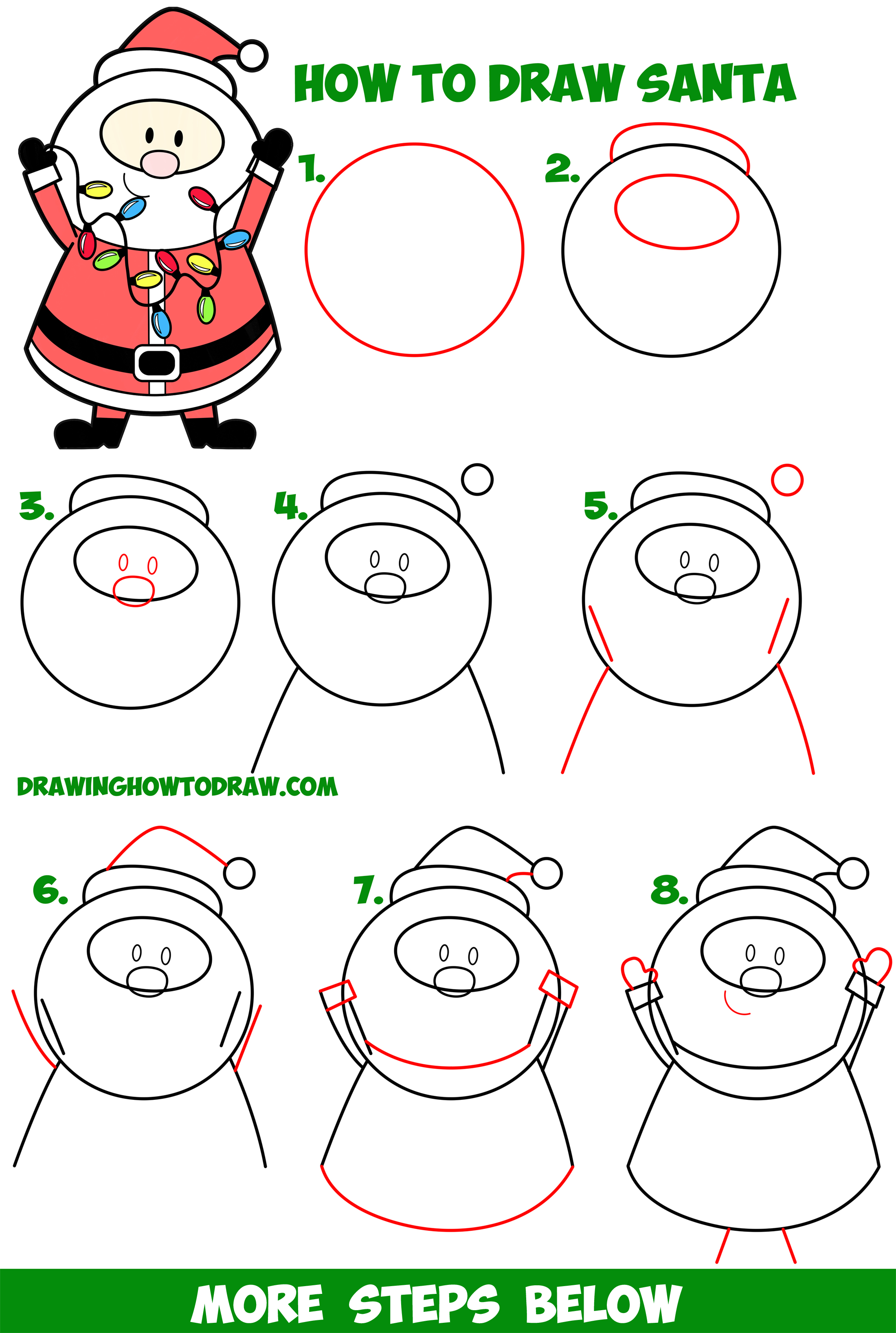 Learn How to Draw Santa Claus Holding Christmas Lights Easy Step by Step Drawing Tutorial for Kids