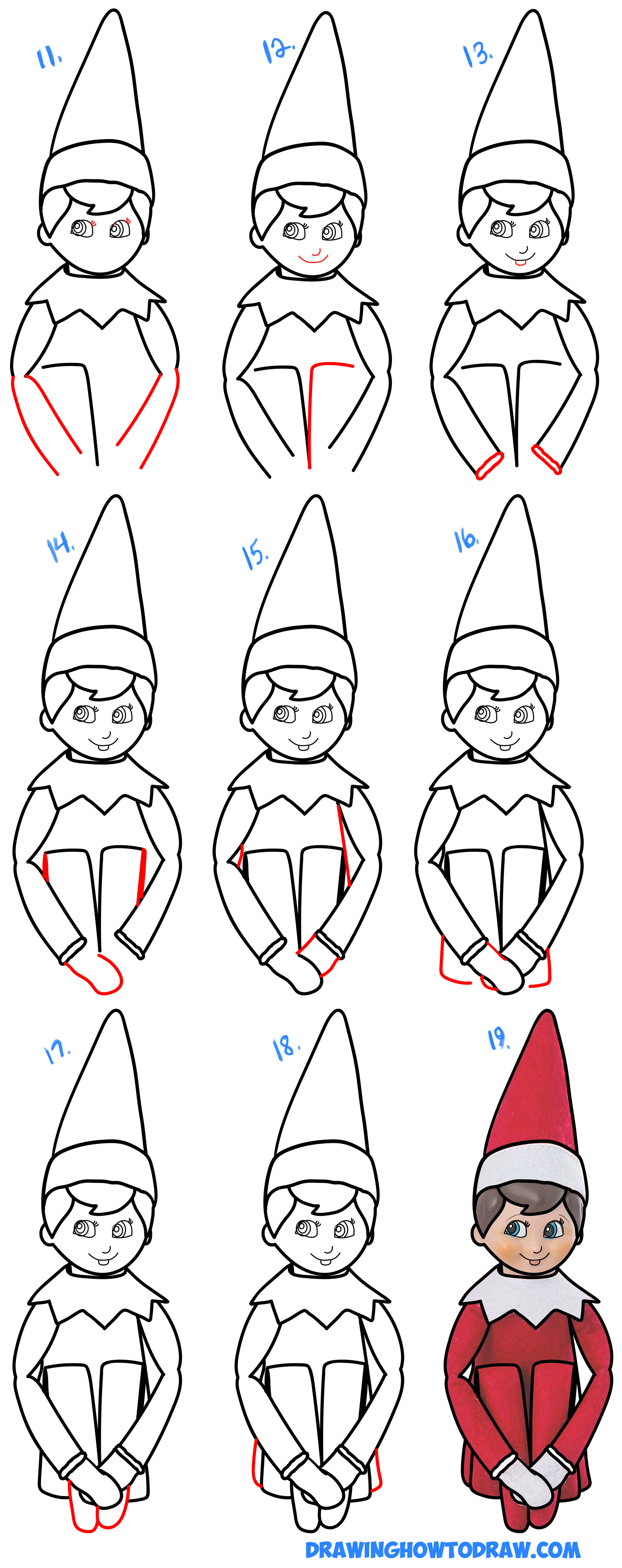 Learn How to Draw The Elf On The Shelf Simple Steps Drawing Lesson for Kids & Beginners