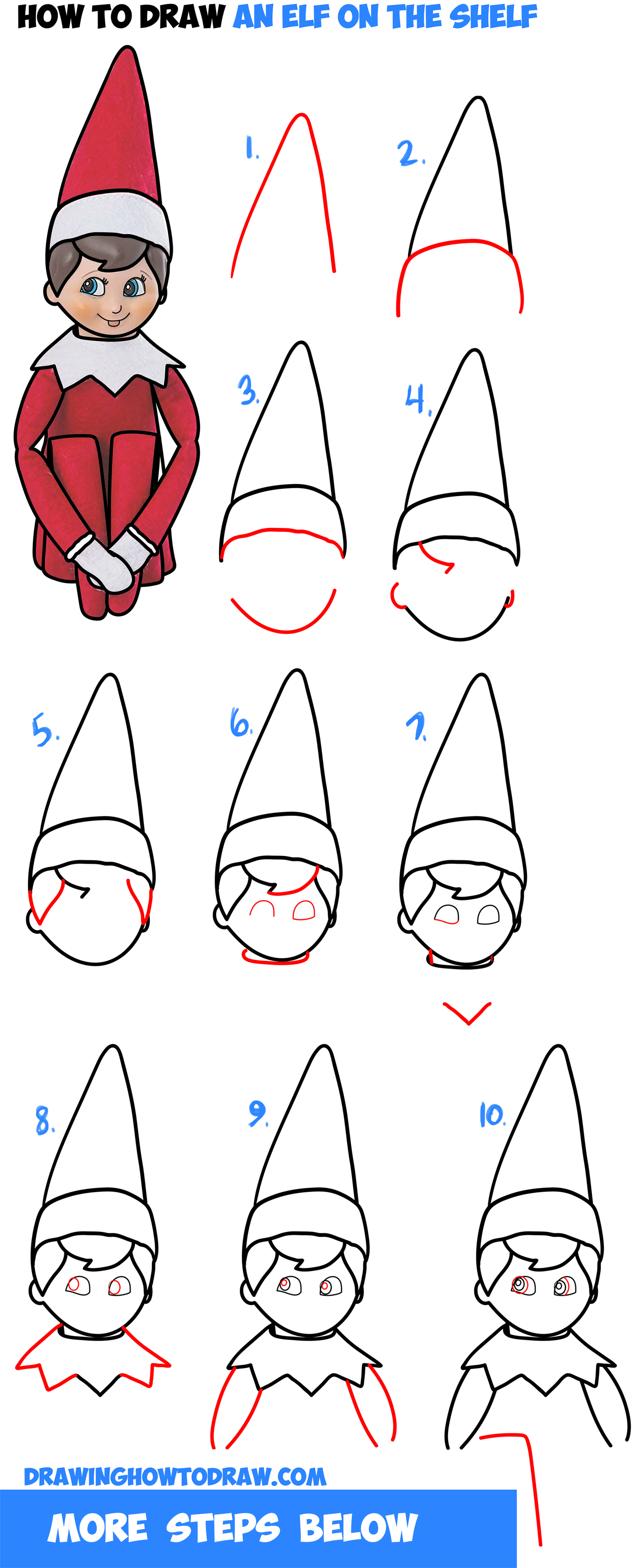 Learn How to Draw The Elf On The Shelf Easy Step by Step Drawing Tutorial for Kids & Beginners