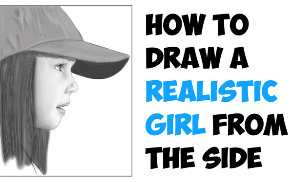 Learn How to Draw a Realistic Cute Little Girl's Face/Head from the Side Profile View Step by Step Drawing Tutorial for Beginners