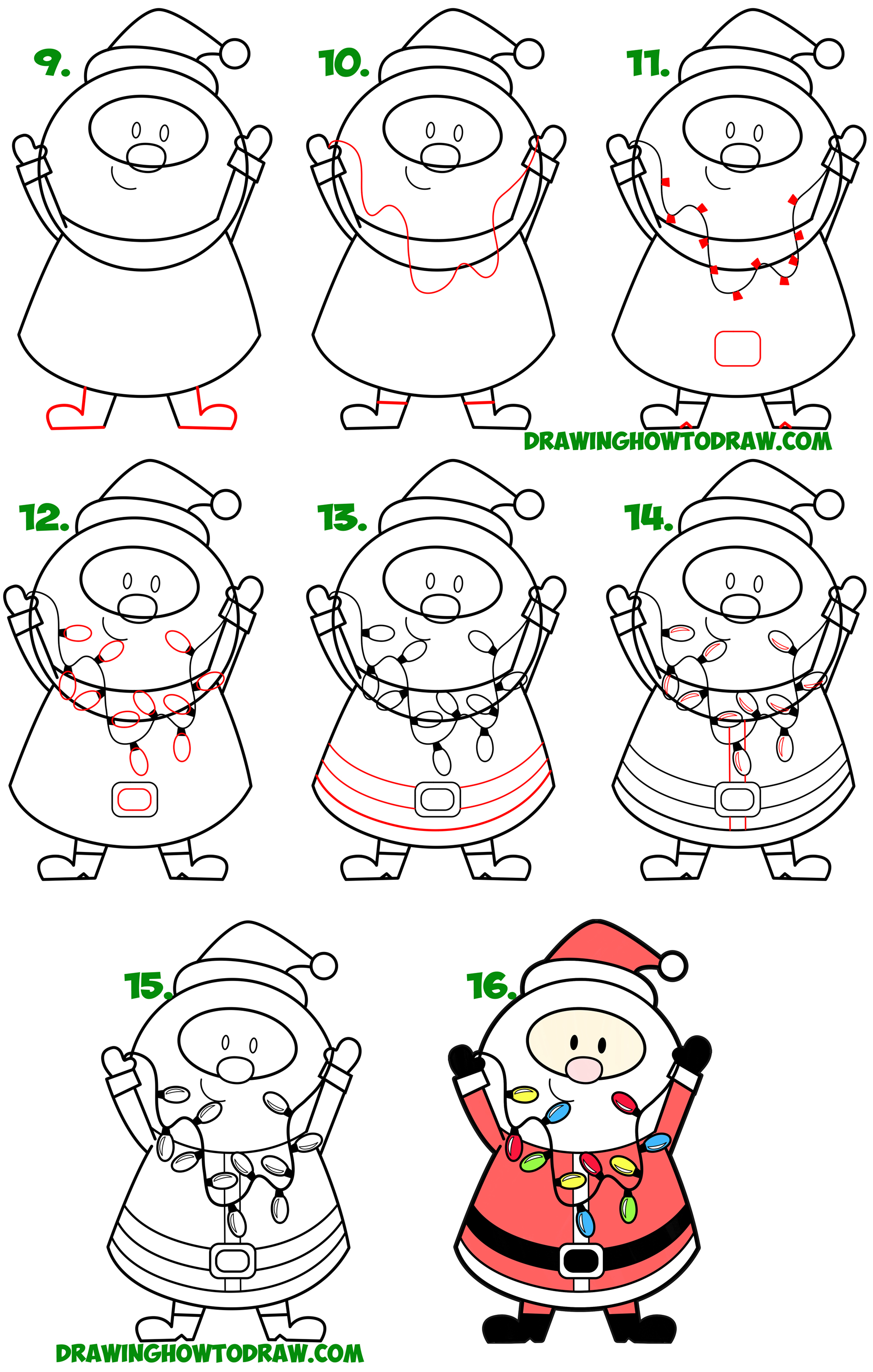 How to Draw Santa Claus Holding Christmas Lights Simple Steps Lesson for Children & Beginners