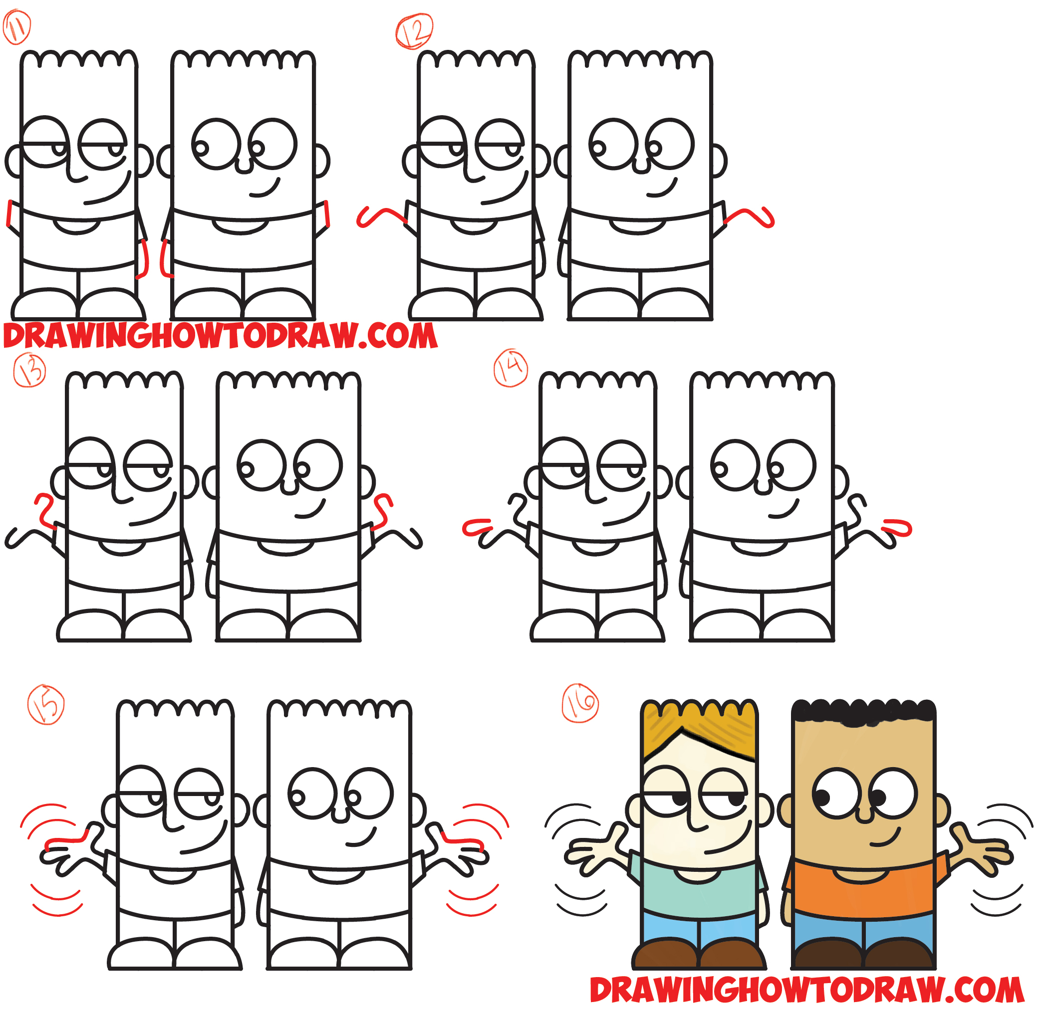 How To Draw 2 Cartoon Characters From The Word Hello Easy Step