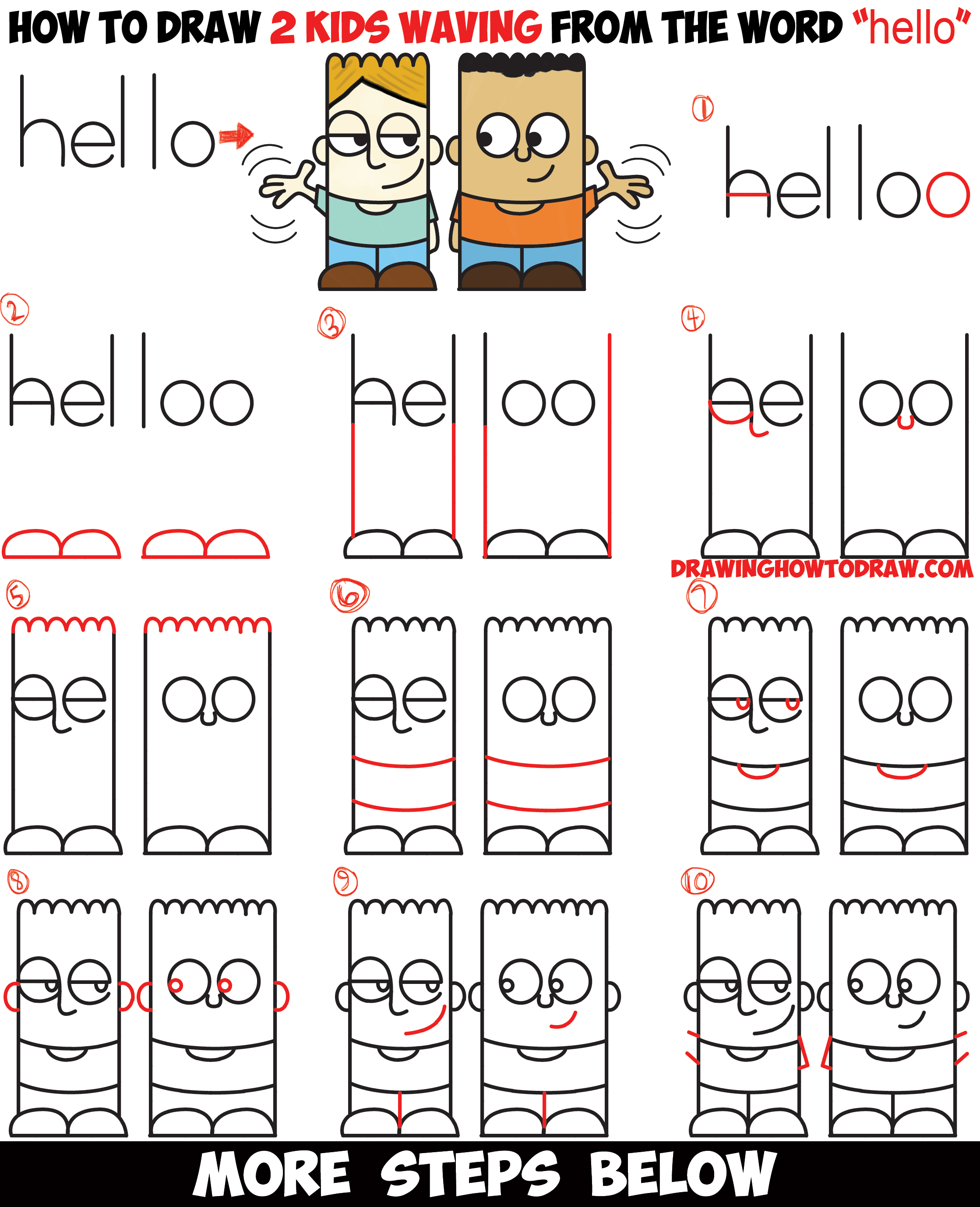 """LearnHow to Draw 2 Cartoon Characters from the Word """"hello"""" Easy Step by Step Word Toon Drawing Tutorial for Kids"""