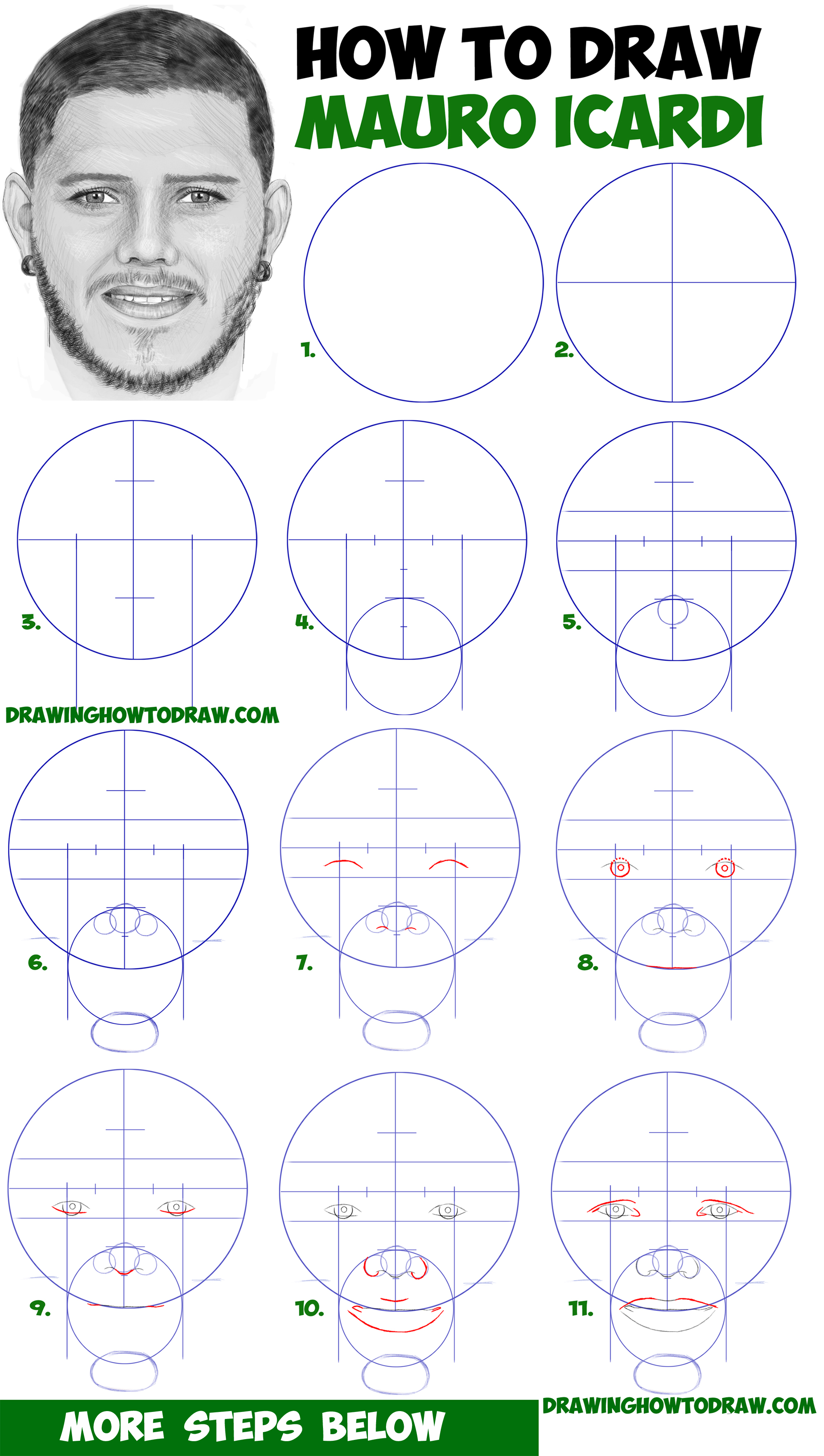 How to Draw Mauro Icardi - Drawing a Realistic Man's Face with Beard from Front View Step by Step Drawing for Beginners