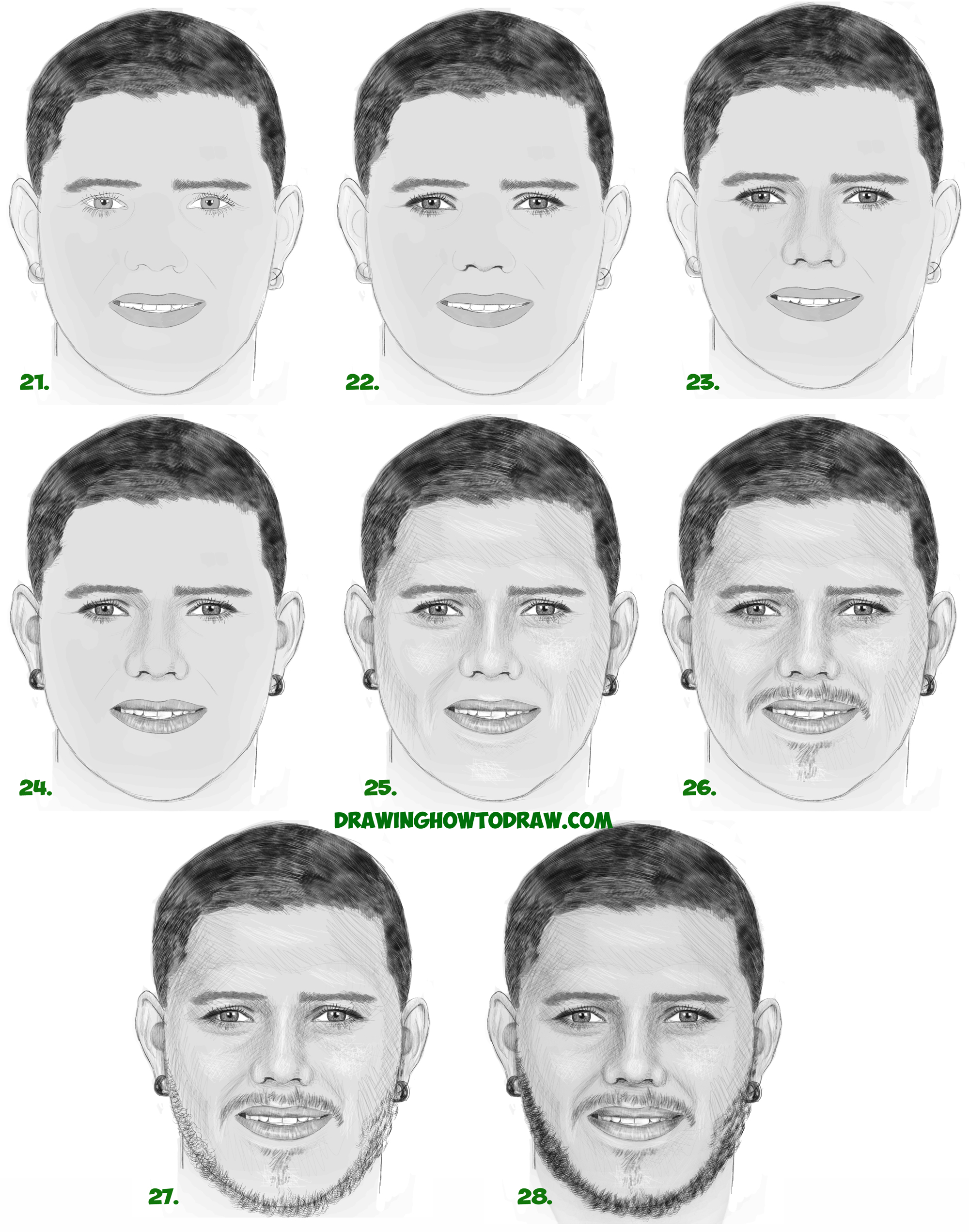 Learn How to Draw Mauro Icardi - Drawing a Realistic Man's Face with Beard from Front View Simple Steps Drawing for Beginners