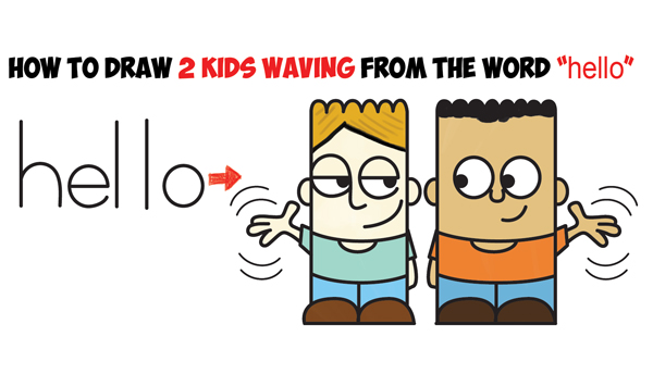 "Learn How to Draw 2 Cartoon Characters from the Word ""hello"" Easy Step by Step Word Toon Drawing Tutorial for Kids"