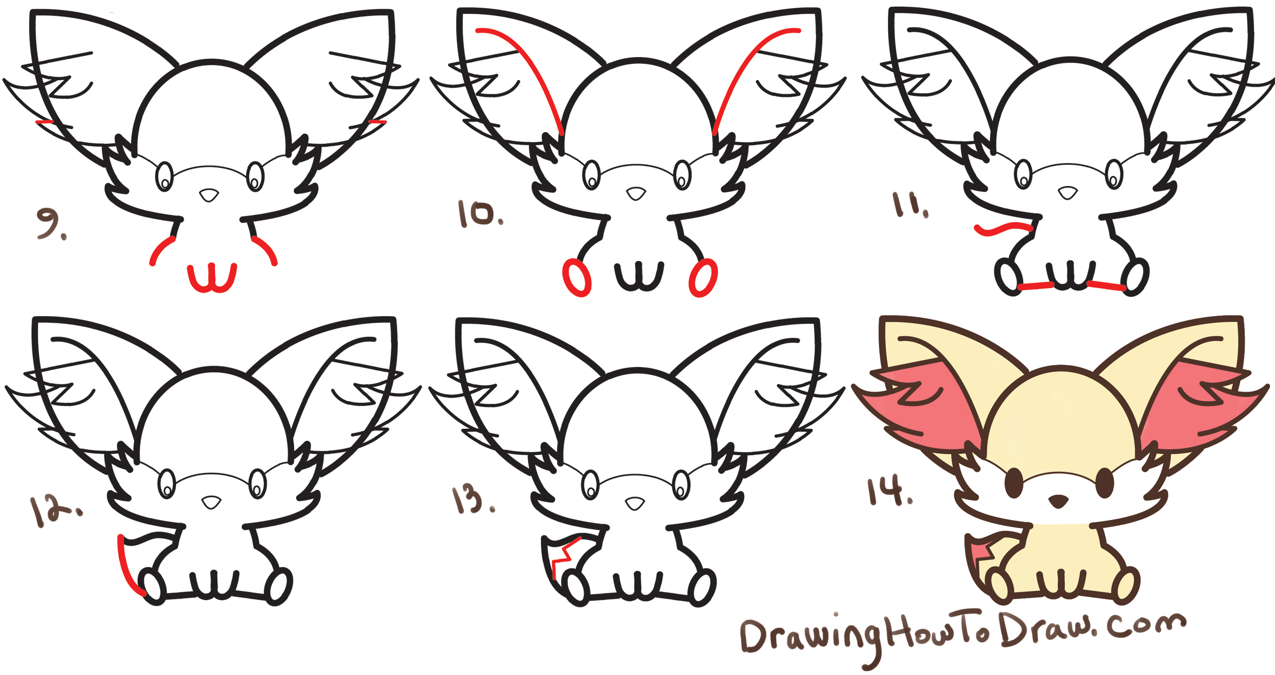 Learn How to Draw Fennekin (Cute Kawaii/Chibi) from Pokemon with Simple Steps Drawing Lesson for Kids & Beginners