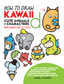 how to draw cute characters, animals, and doodles in kawaii style from lowercase letters for kids