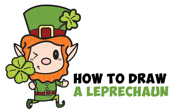 Learn How to Draw a Cute Kawaii Leprechaun for Saint Patrick's Day Simple Steps Drawing Lesson for Kids