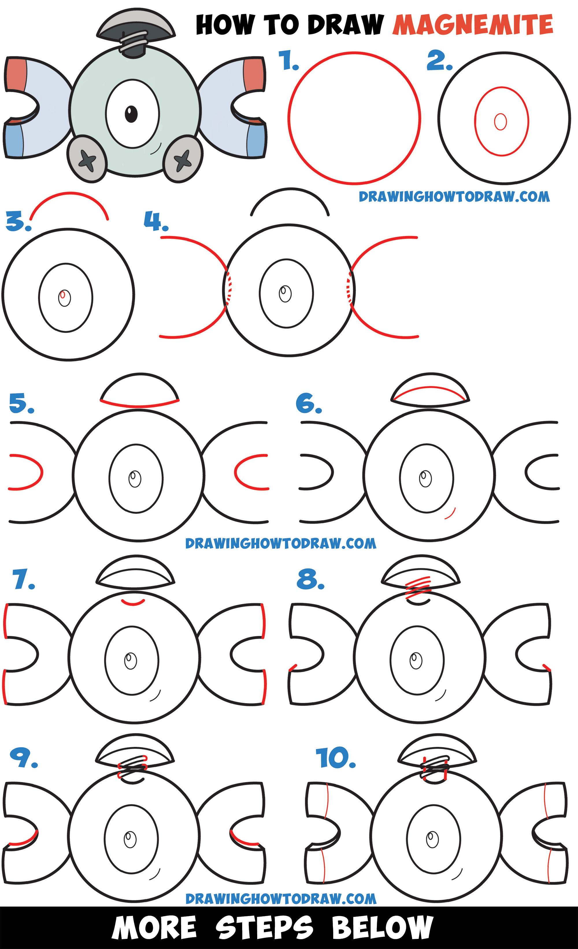 LearnHow to Draw Magnemite from Pokemon (Cute / Kawaii Chibi Version) Easy Step by Step Drawing Tutorial for Kids