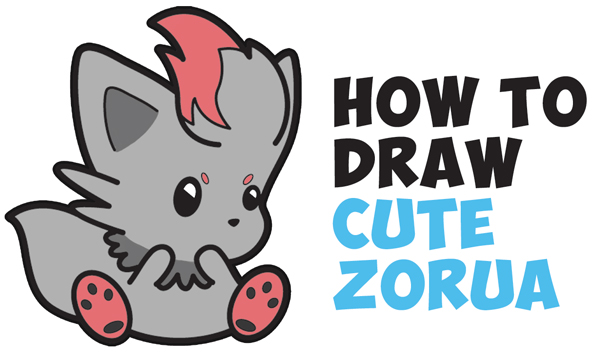 Learn How to Draw Cute (Kawaii / Chibi) Zorua Pokemon with Easy Step by Step Drawing Tutorial for Kids & Beginners
