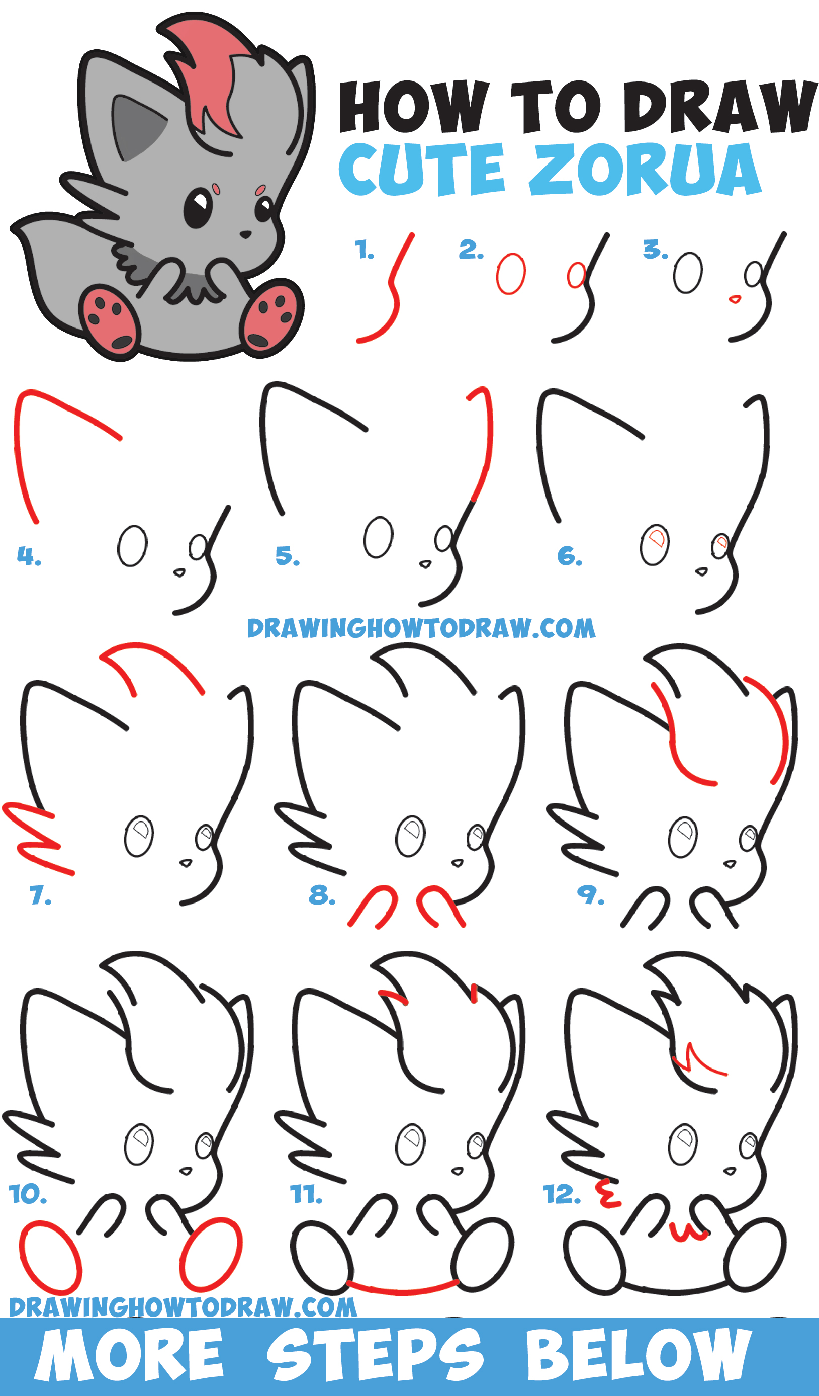 How to draw cute zorua pokemon with easy step by step for Things to draw for beginners step by step