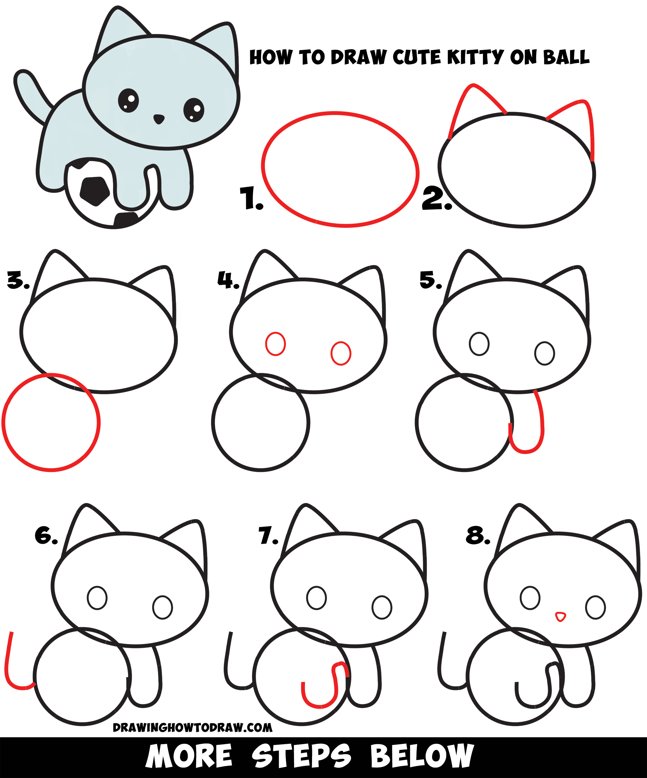 Learn How to Draw a Cute Kitten Playing on a Soccer Ball Easy Step by Step Drawing Tutorial for Kids