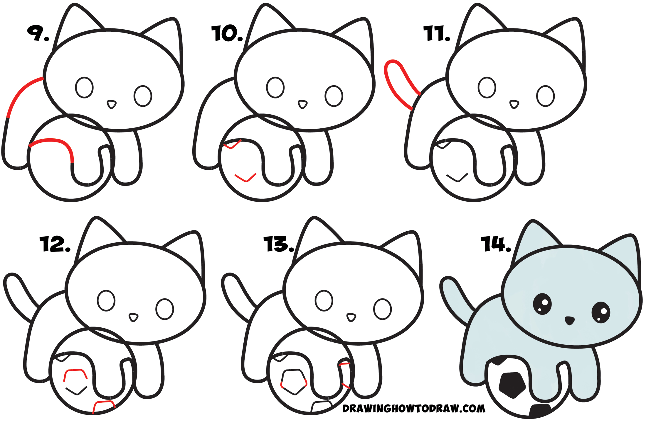 How To Draw A Cute Kitten Playing On A Soccer Ball Easy Step By Step