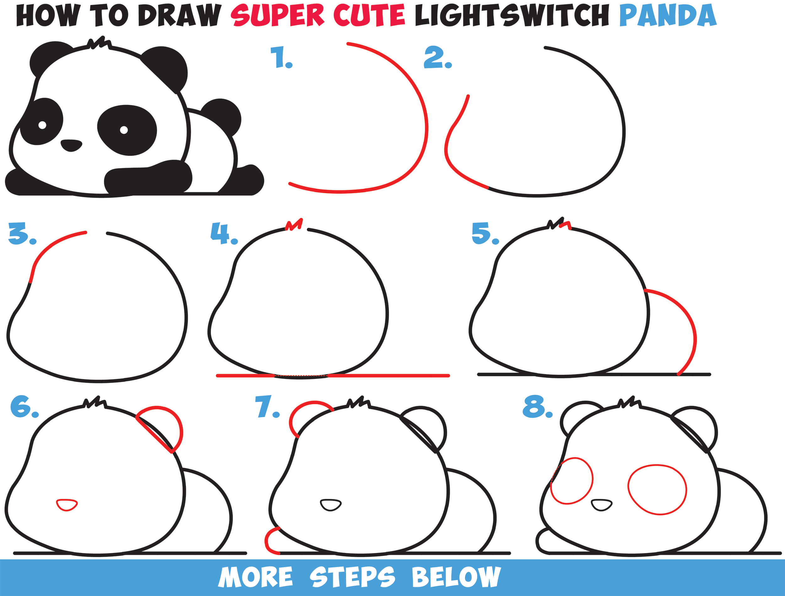 How To Draw A Super Cute Kawaii Panda Bear Laying Down Easy Step By