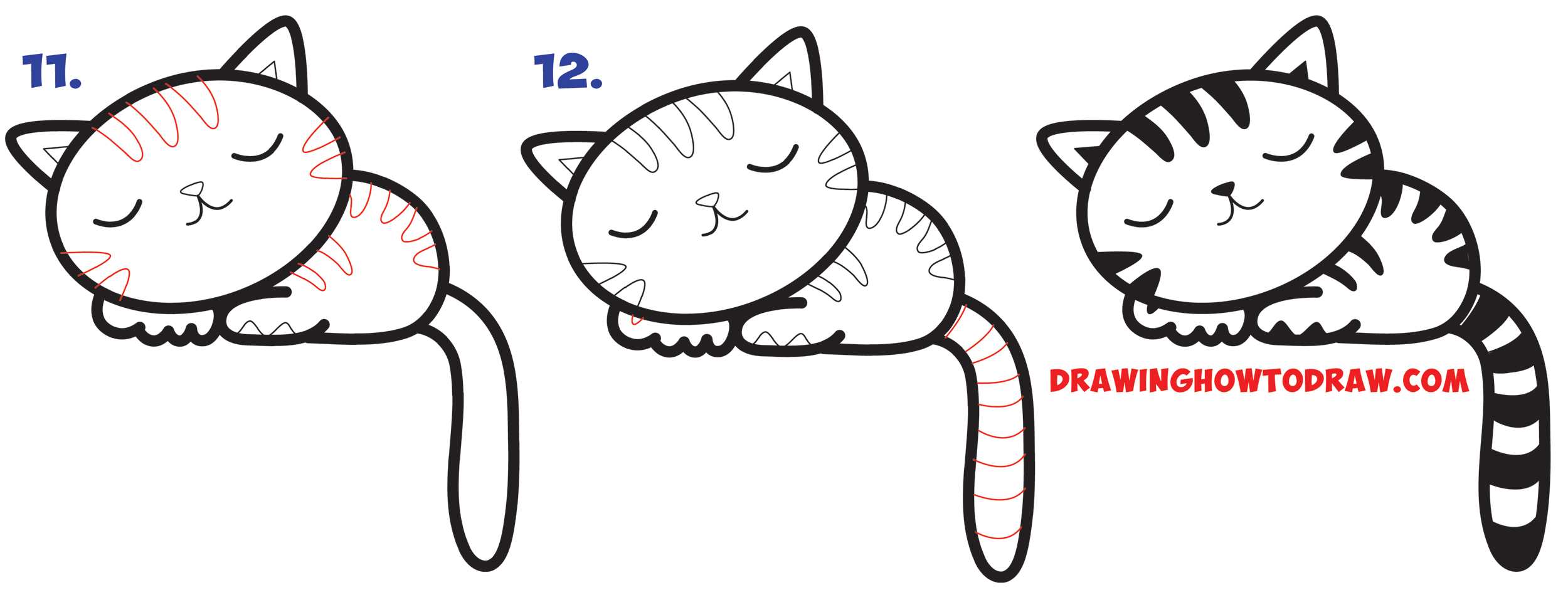 Learn How to Draw a Cute Cartoon Kitten Napping Simple Steps Drawing Lesson for Beginners