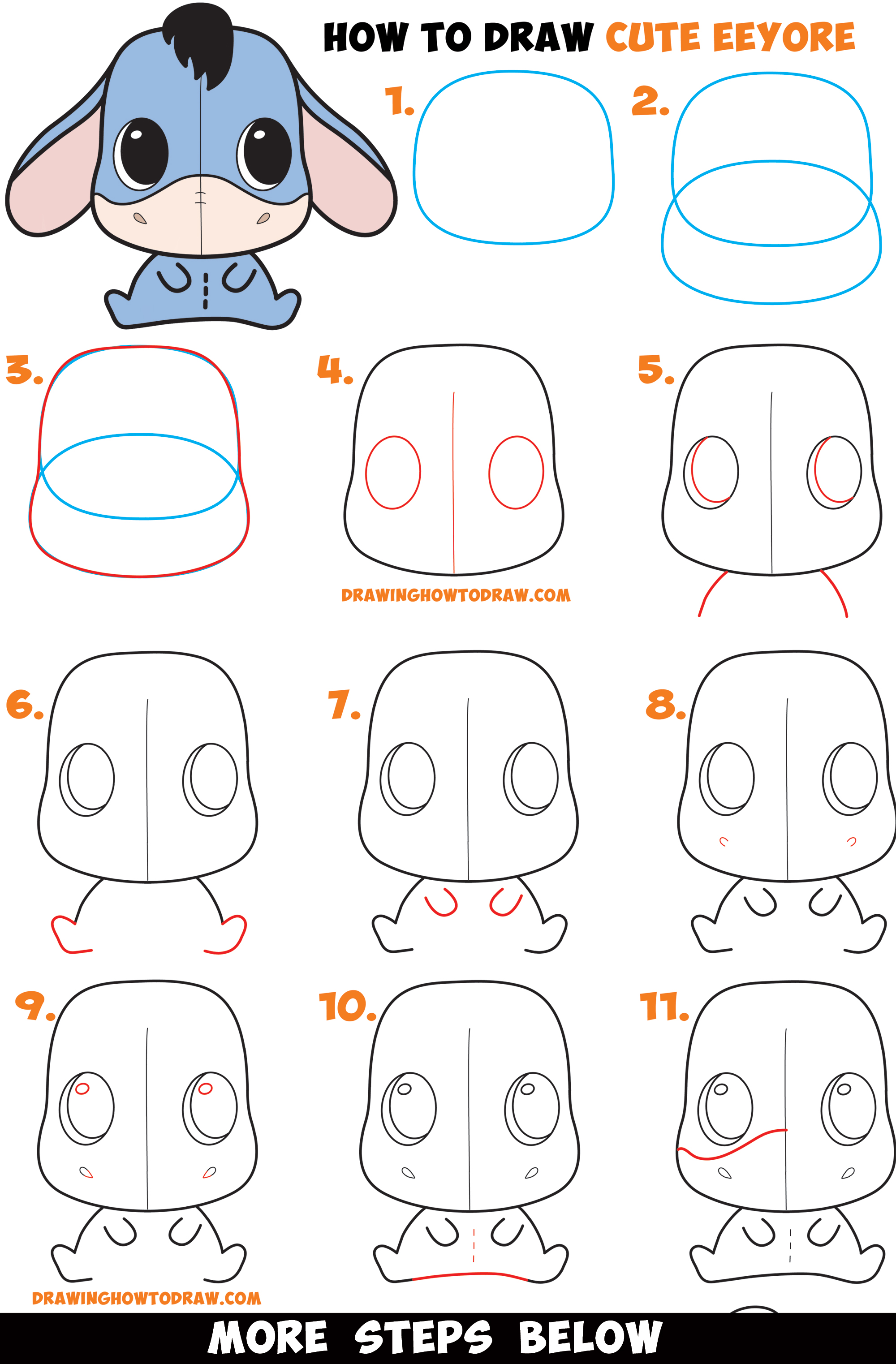 How To Draw A Cute Chibi / Kawaii Eeyore Easy Step By Step