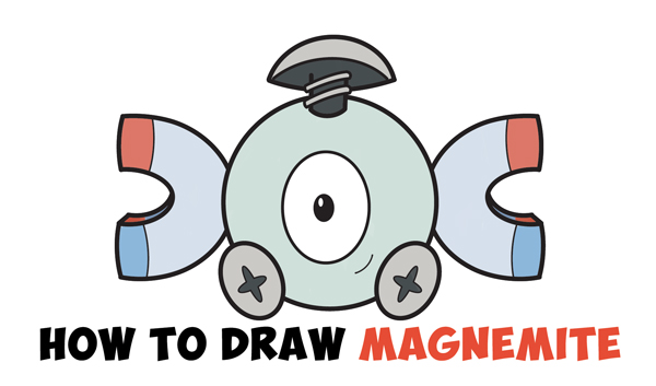 Learn How to Draw Magnemite from Pokemon (Cute / Kawaii Chibi Version) Simple Steps Drawing Lesson for Beginners