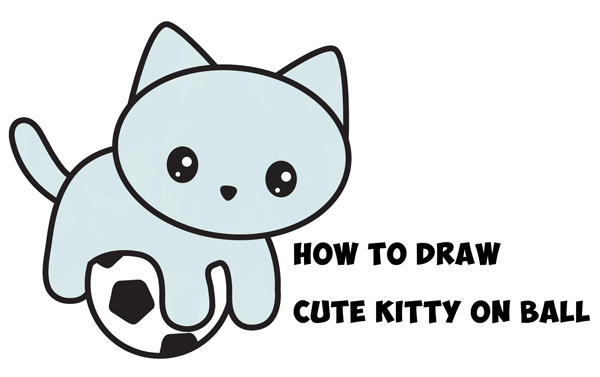 How to draw a cute kitten playing on a soccer ball easy step by step drawing tutorial for kids