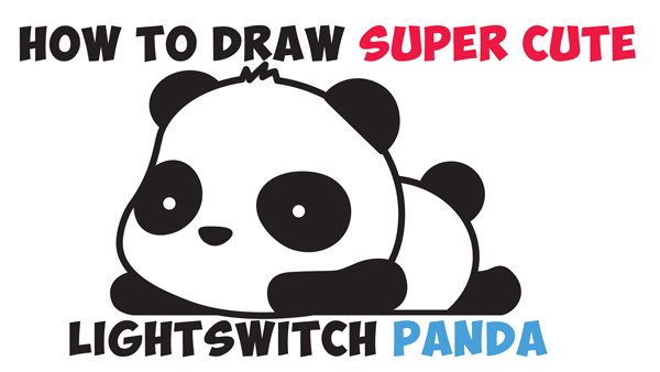 How to draw a super cute kawaii panda bear laying down easy step by step drawing tutorial for kids beginners