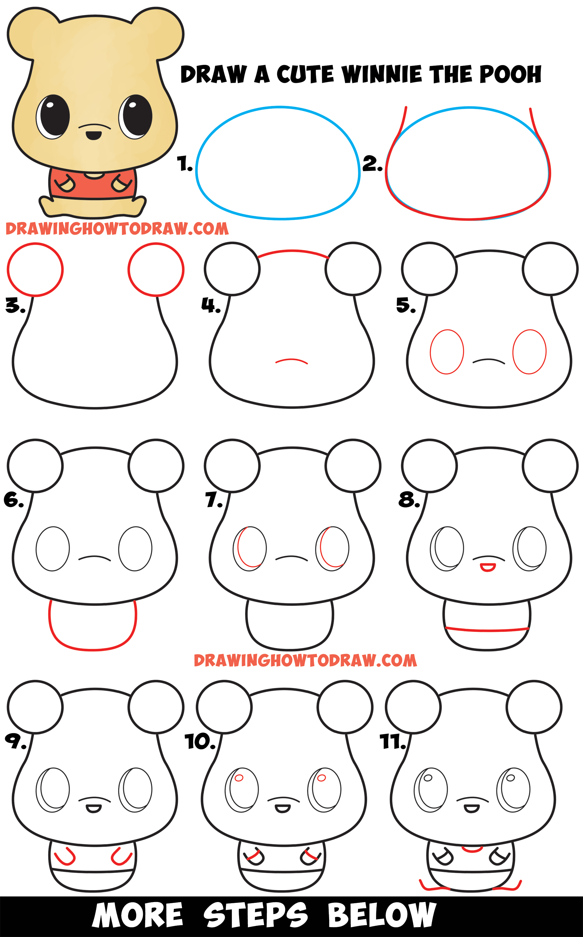 LearnHow to Draw a Cute Chibi / Kawaii Winnie The Pooh Easy Step by Step Drawing Tutorial for Beginners & Kids